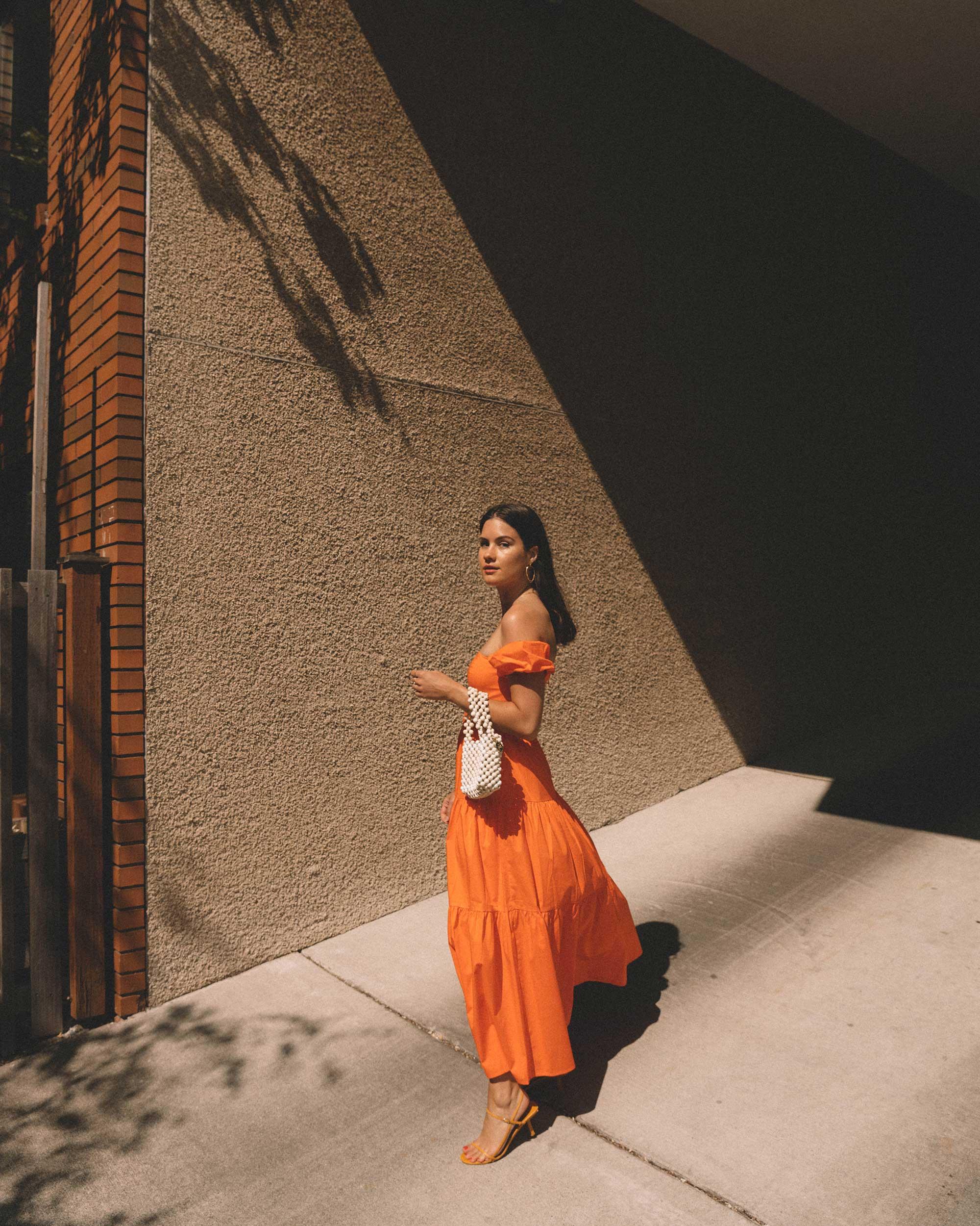 Sarah Butler of Sarah Styles wearing Staud Elio off-the-shoulde Puff Sleeve Prairie Dress in Seattle   @sarahchristine -1.jpg