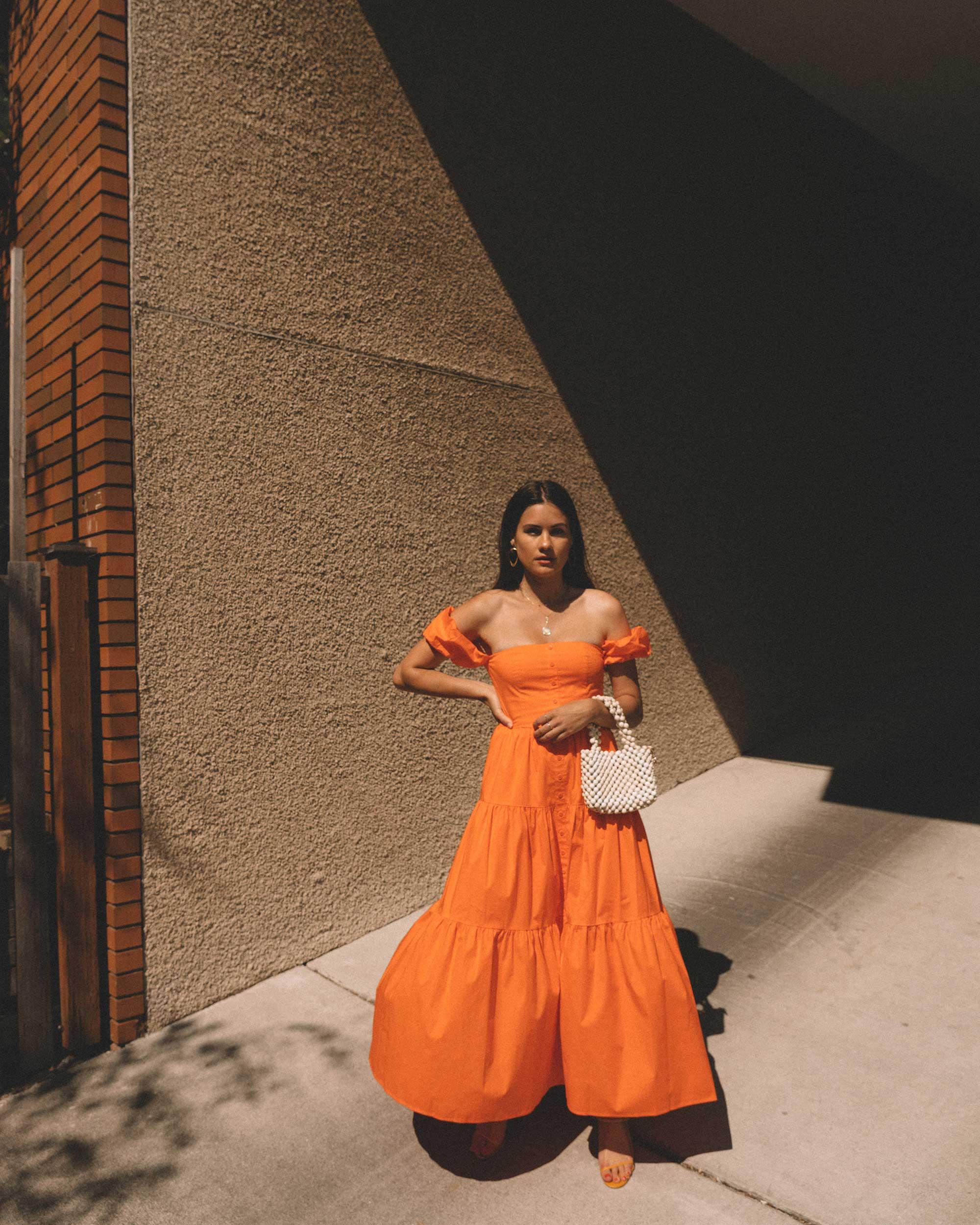 Sarah Butler of Sarah Styles wearing Staud Elio off-the-shoulde Puff Sleeve Prairie Dress in Seattle   @sarahchristine   1.jpg