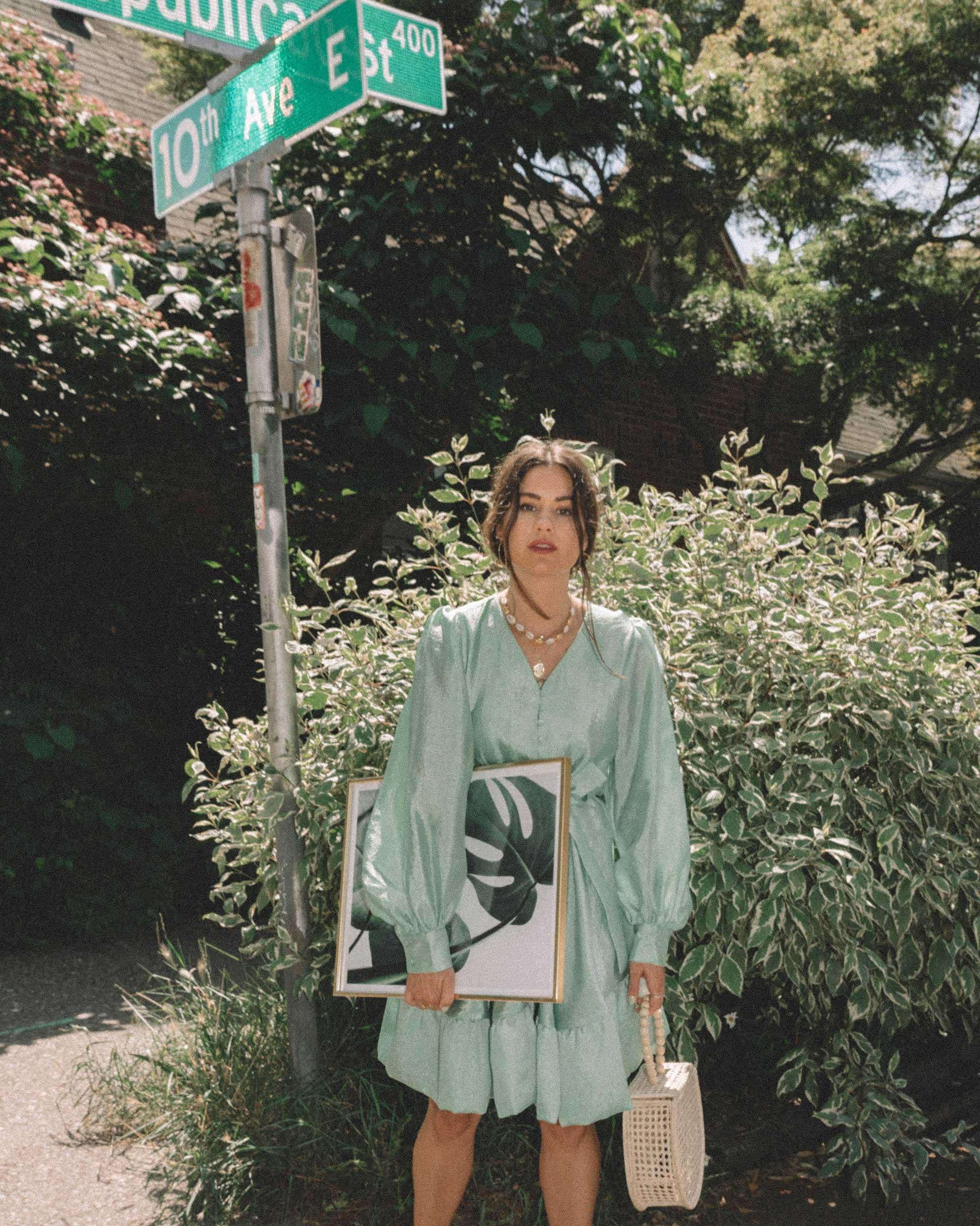 STINE GOYA Farrow Crepe Blouson Sleeve Dress in jade green satin crepe - 8.jpg