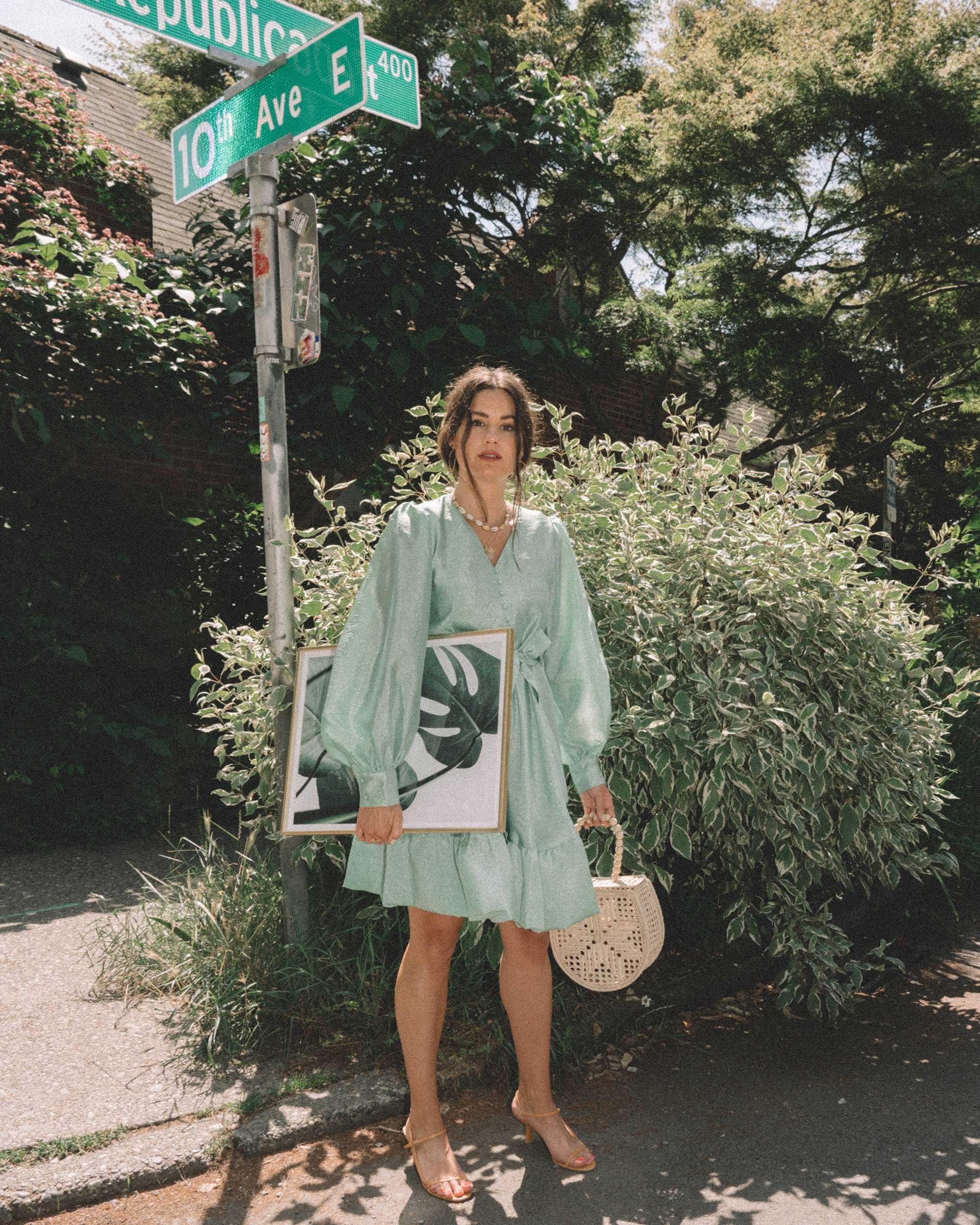 STINE GOYA Farrow Crepe Blouson Sleeve Dress in jade green satin crepe - 3.jpg