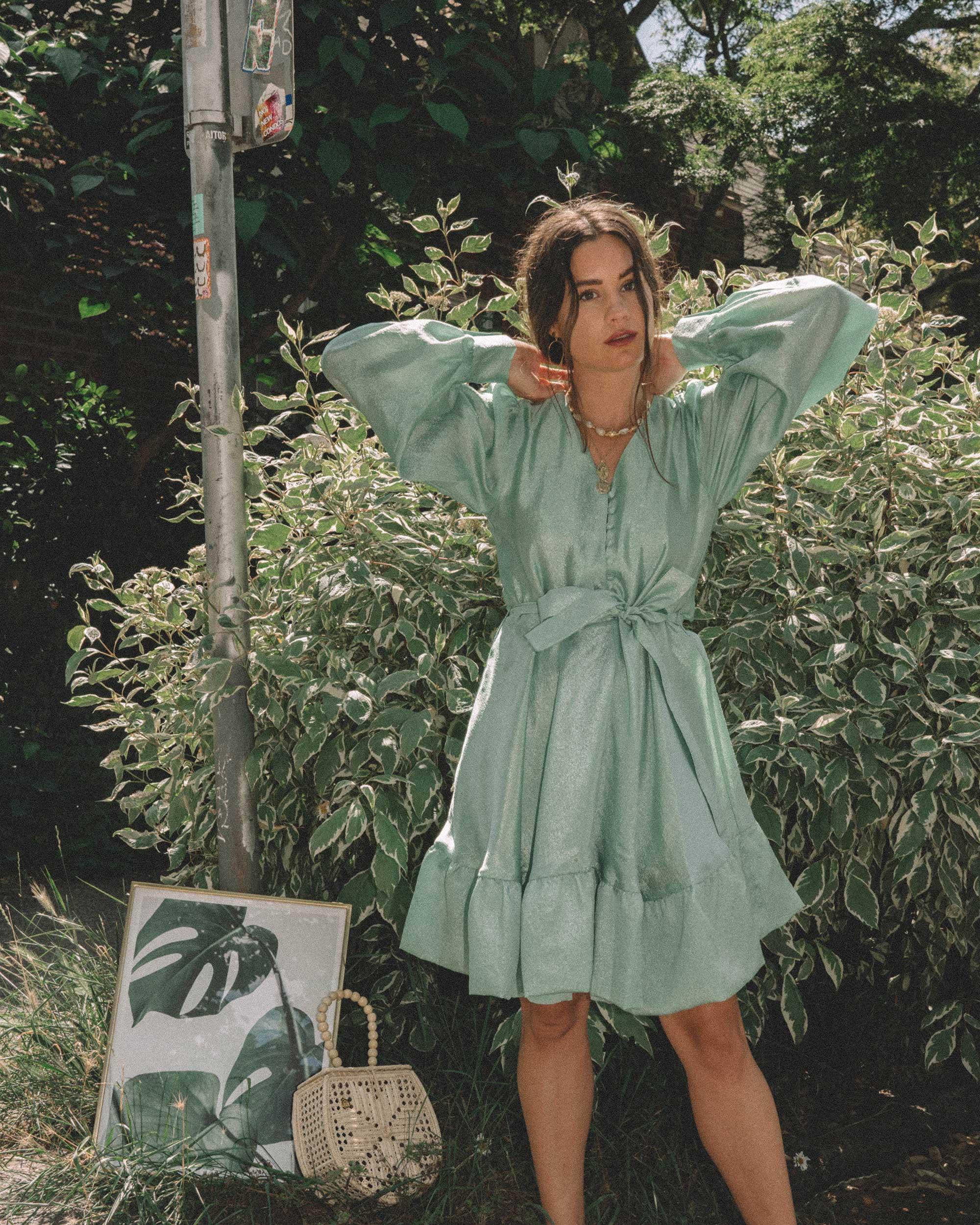 STINE GOYA Farrow Crepe Blouson Sleeve Dress in jade green satin crepe - 13.jpg