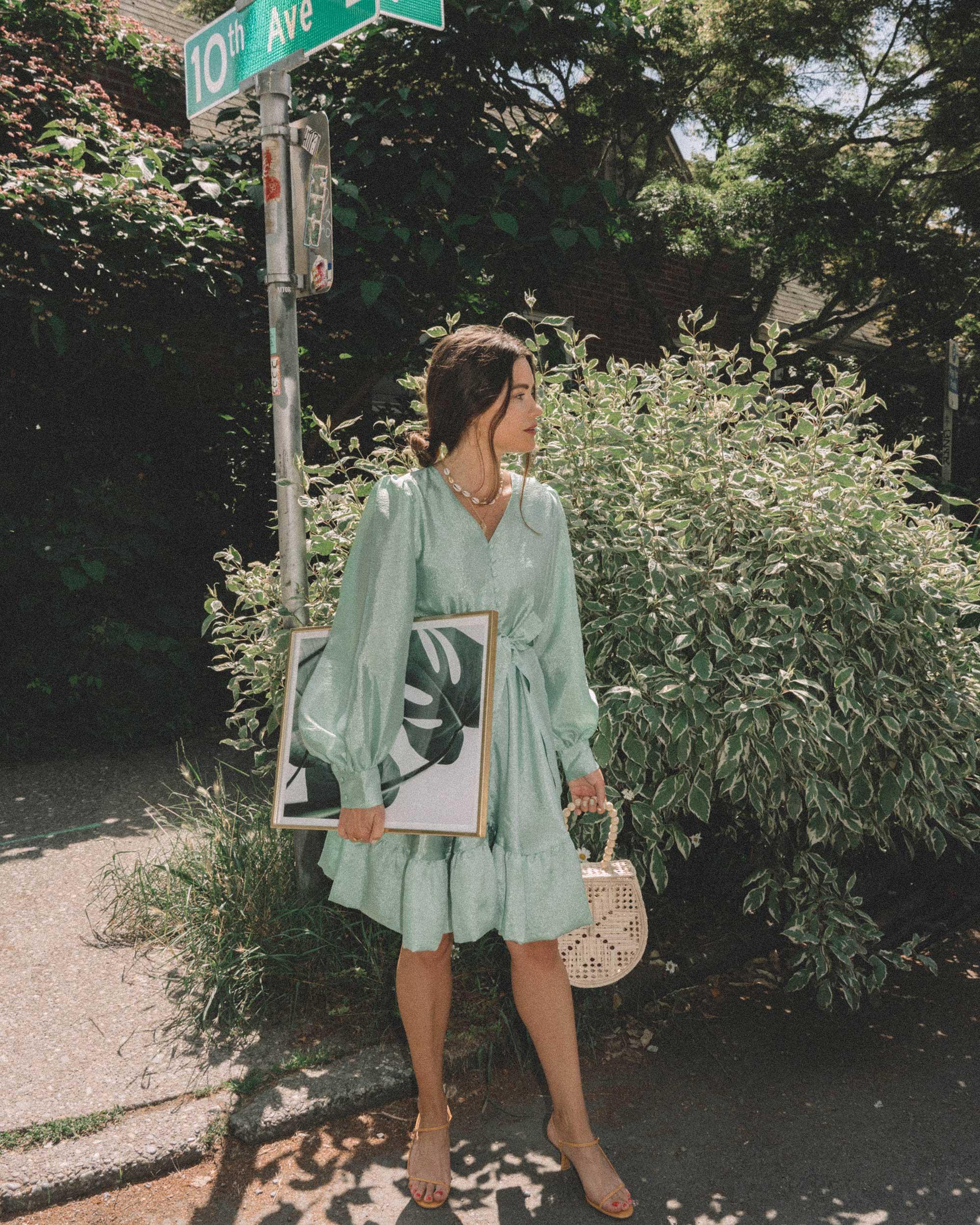 STINE GOYA Farrow Crepe Blouson Sleeve Dress in jade green satin crepe - 4.jpg