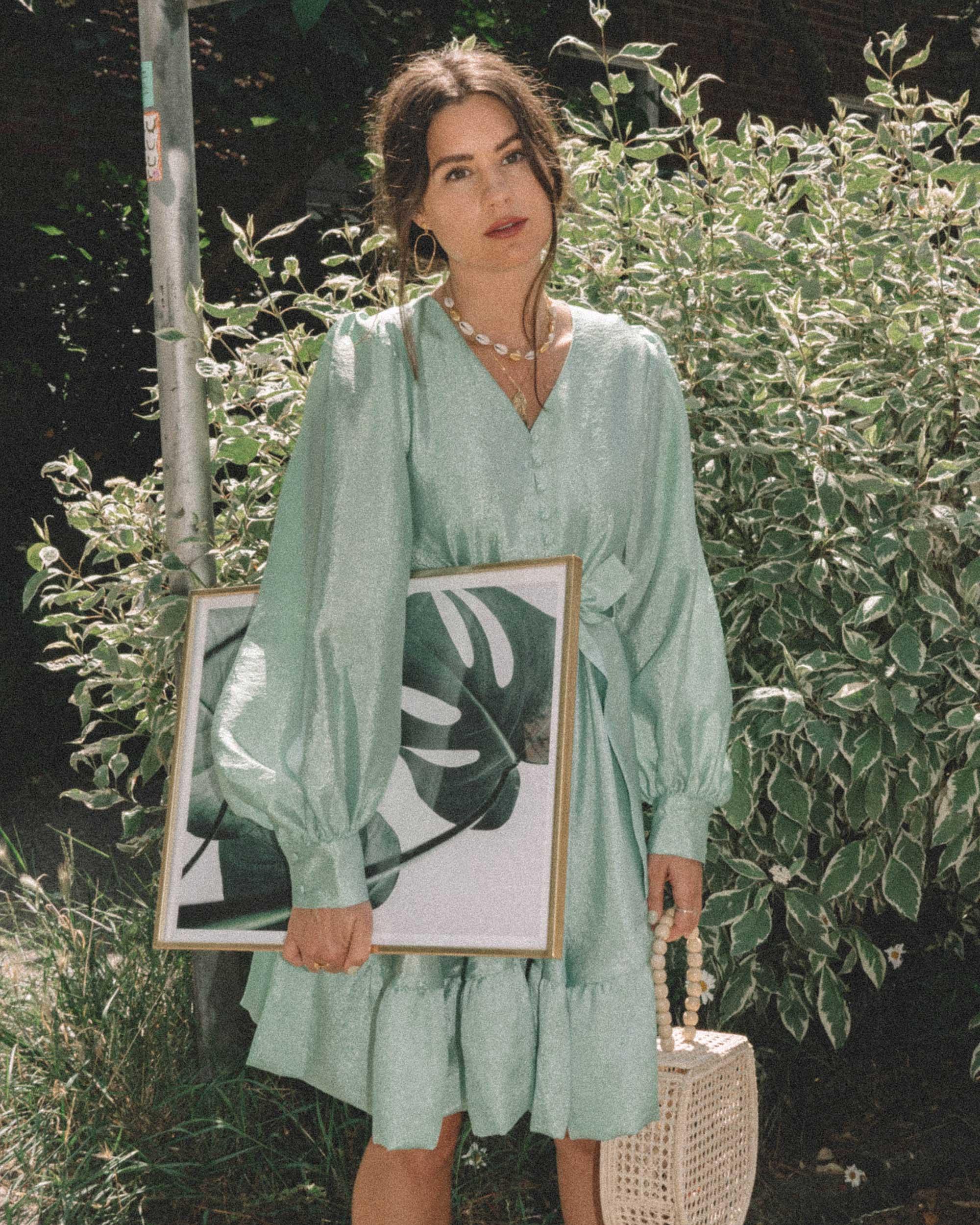STINE GOYA Farrow Crepe Blouson Sleeve Dress in jade green satin crepe - 6.jpg