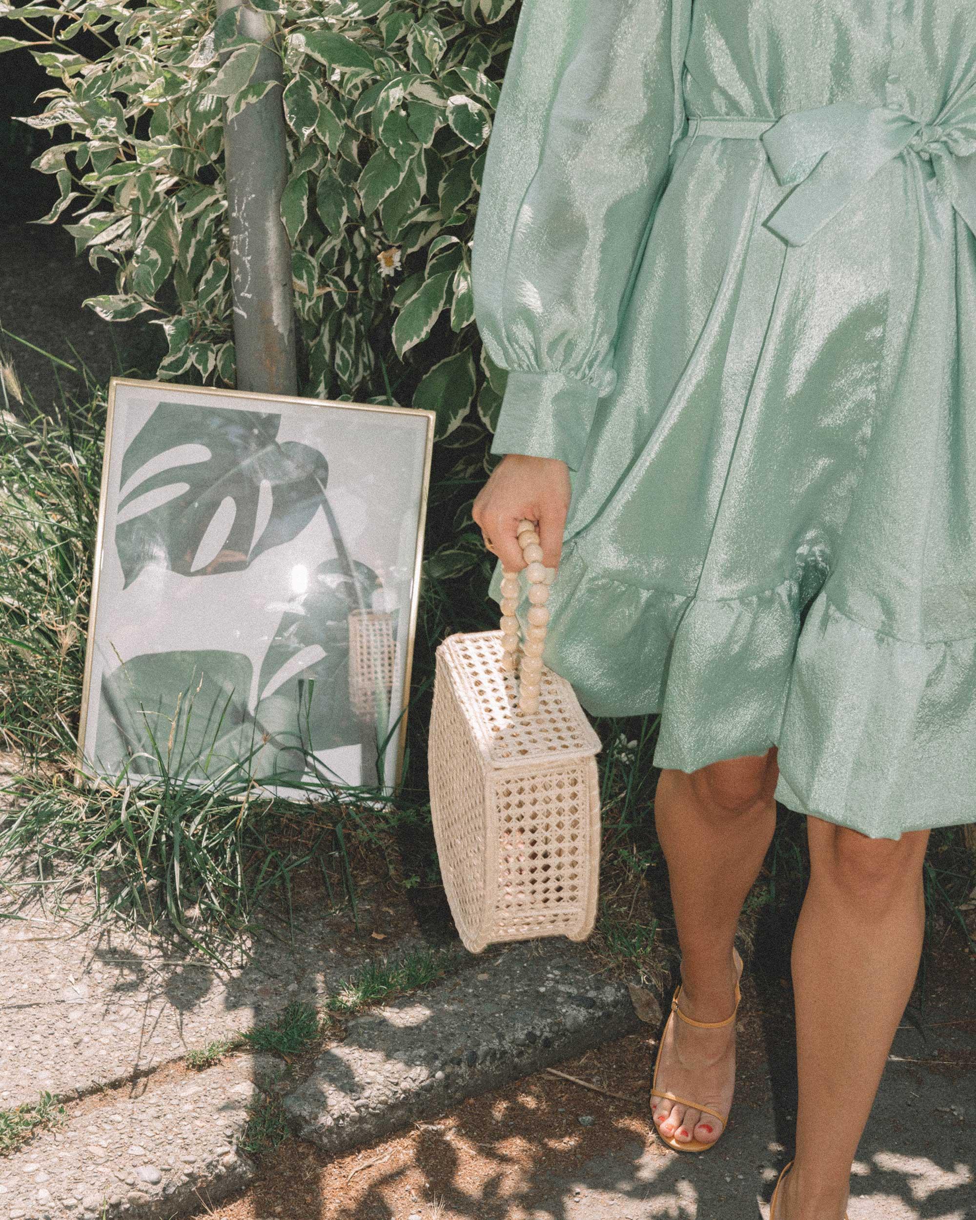 STINE GOYA Farrow Crepe Blouson Sleeve Dress in jade green satin crepe - 17.jpg