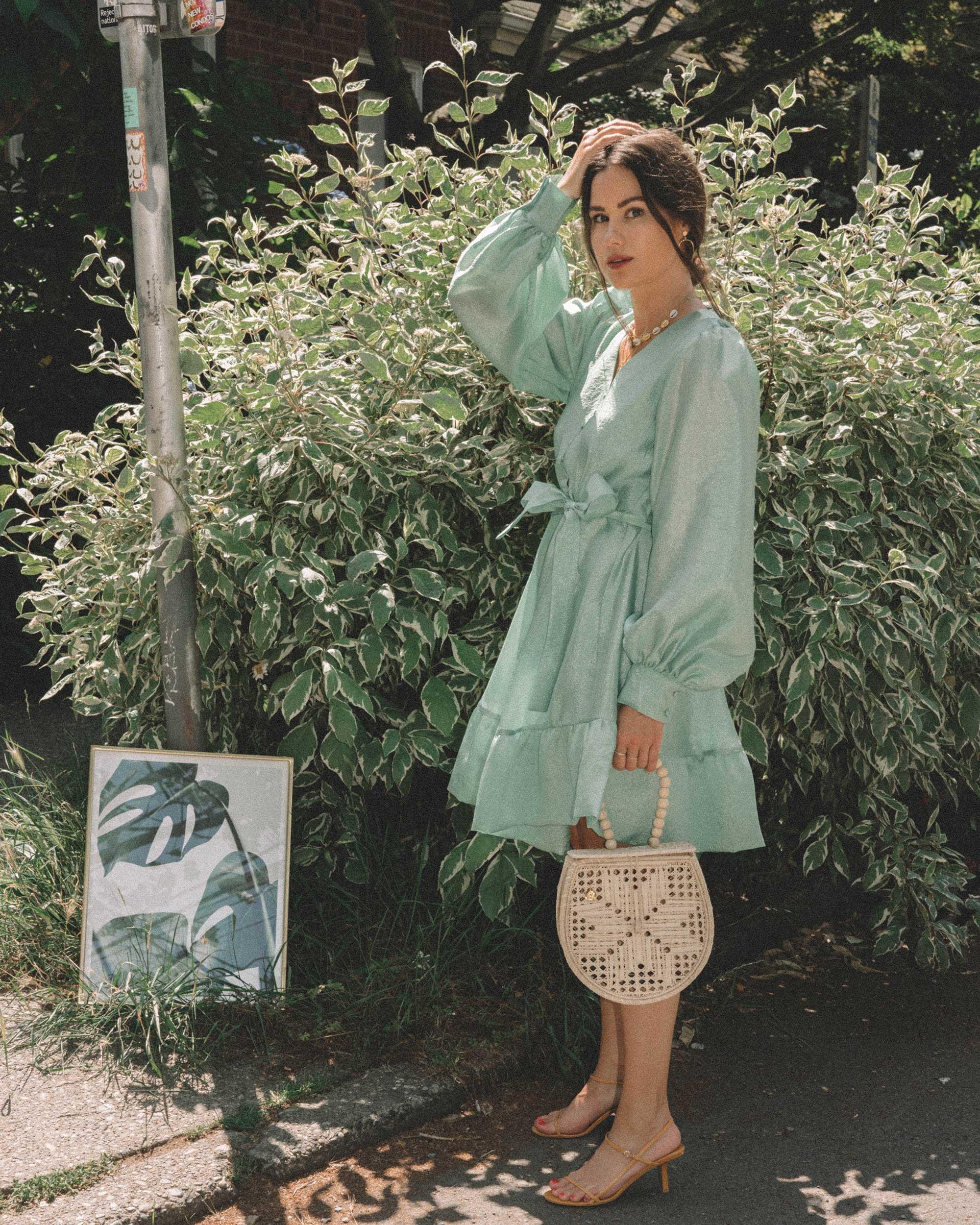 STINE GOYA Farrow Crepe Blouson Sleeve Dress in jade green satin crepe - 15.jpg
