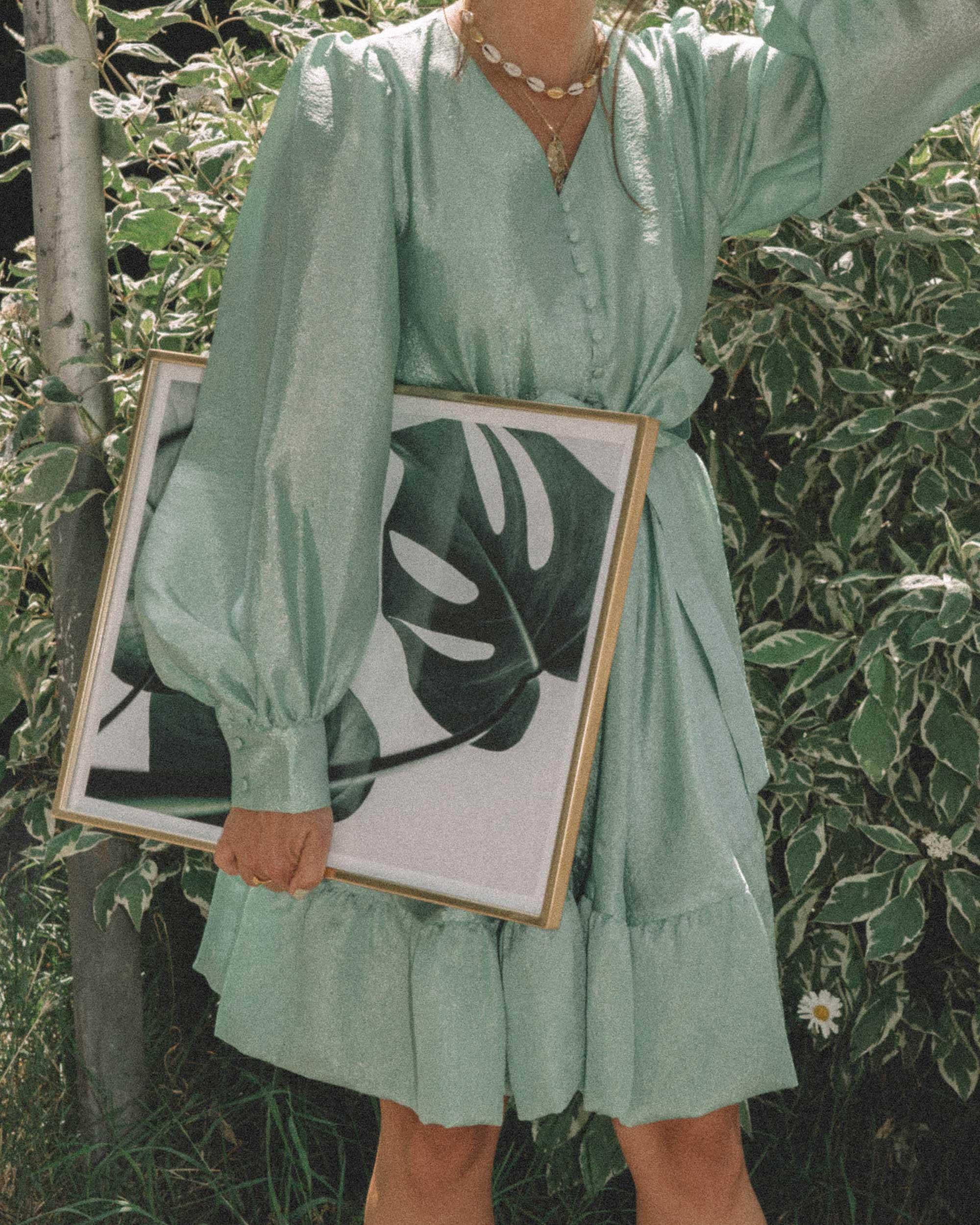 STINE GOYA Farrow Crepe Blouson Sleeve Dress in jade green satin crepe - 9.jpg