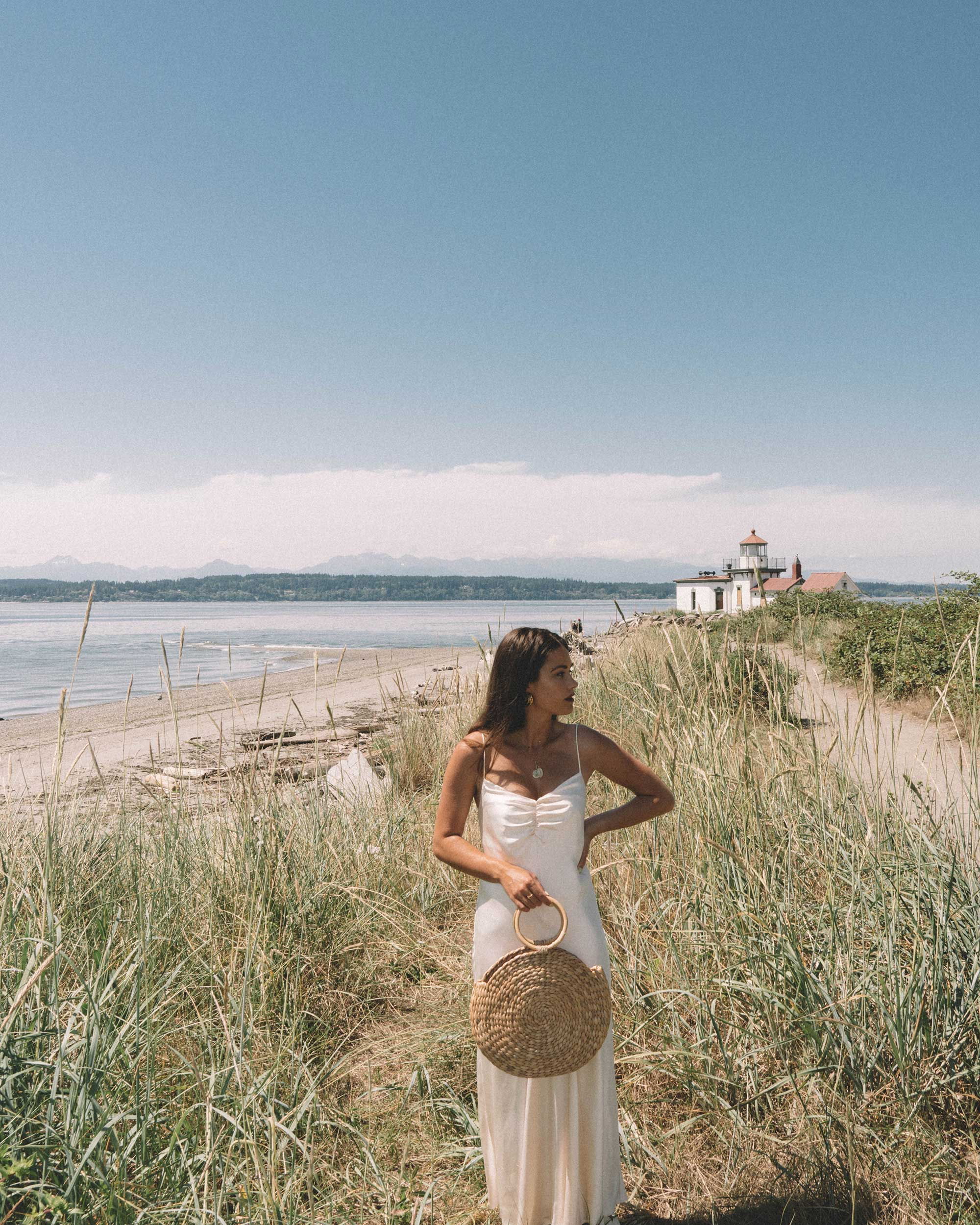Sarah Butler of Sarah Styles Seattle  wearing C:MEO COLLECTIVE Polarised Silk Midi Dress at Discovery Park, Seattle Washington | @sarahchristine -3.jpg