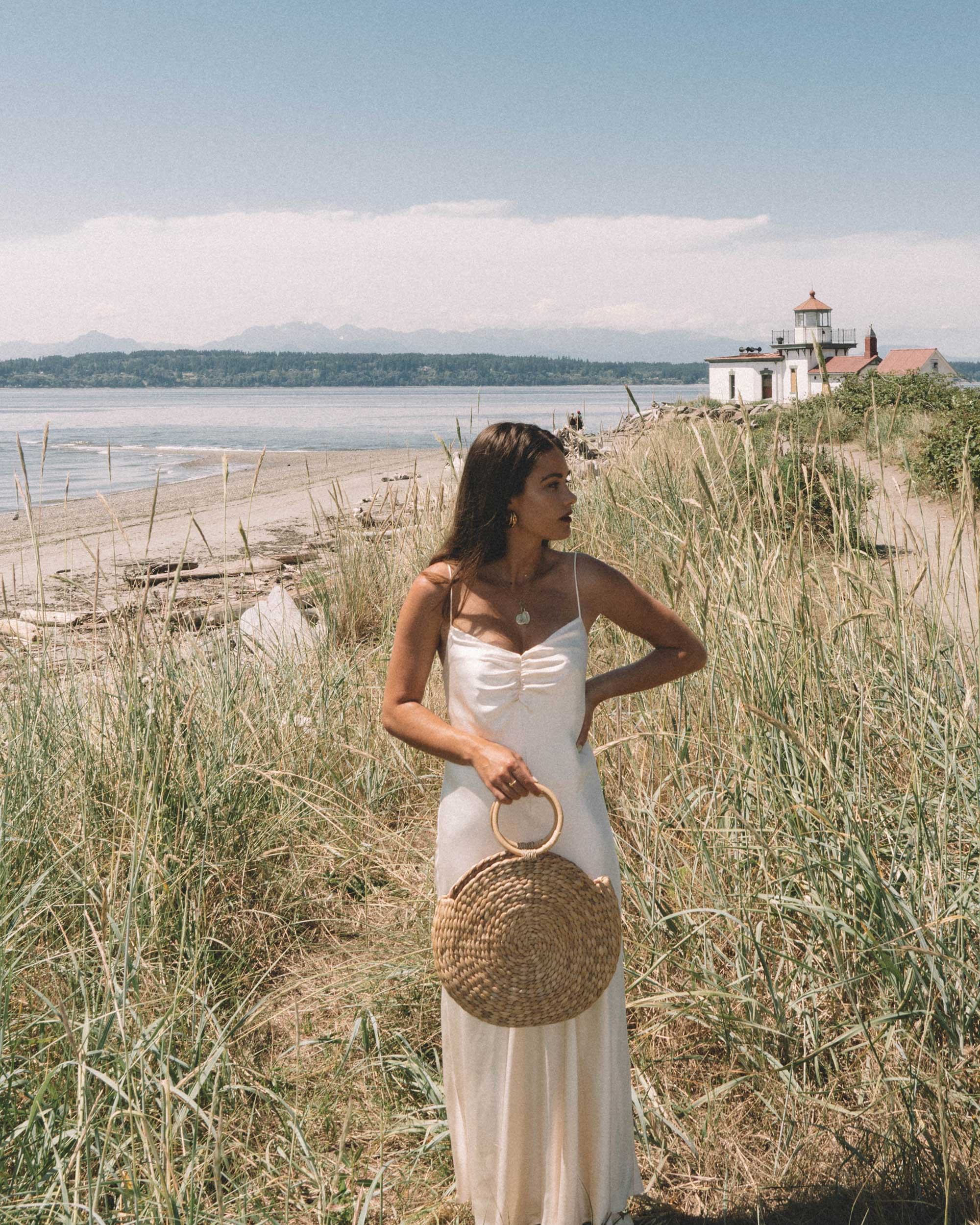 Sarah Butler of Sarah Styles Seattle  wearing C:MEO COLLECTIVE Polarised Silk Midi Dress at Discovery Park, Seattle Washington | @sarahchristine -8.jpg
