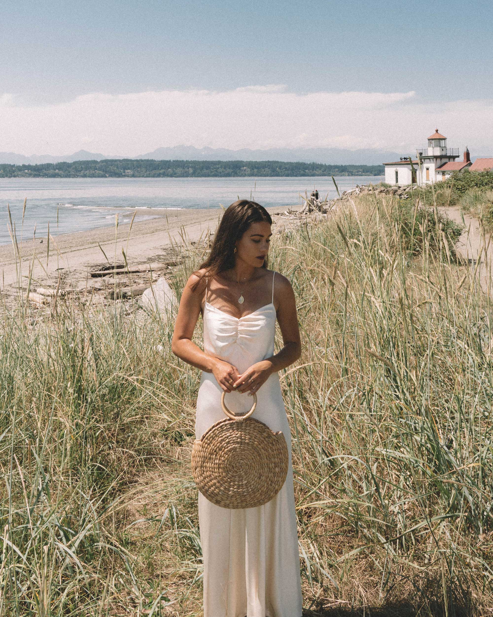 Sarah Butler of Sarah Styles Seattle  wearing C:MEO COLLECTIVE Polarised Silk Midi Dress at Discovery Park, Seattle Washington | @sarahchristine -7.jpg