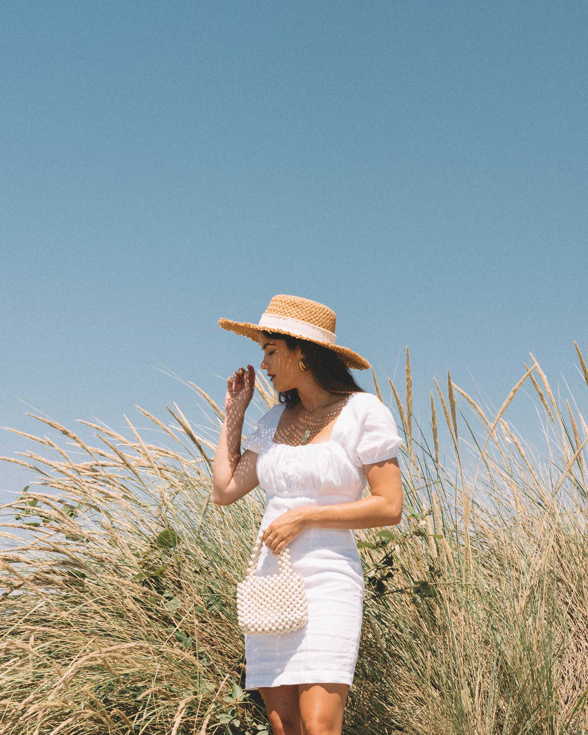 Sarah Butler of Sarah Styles wearing Puff Sleeve Linen Minidress at Seattle Discover Park  | @sarahchristine -3.jpg