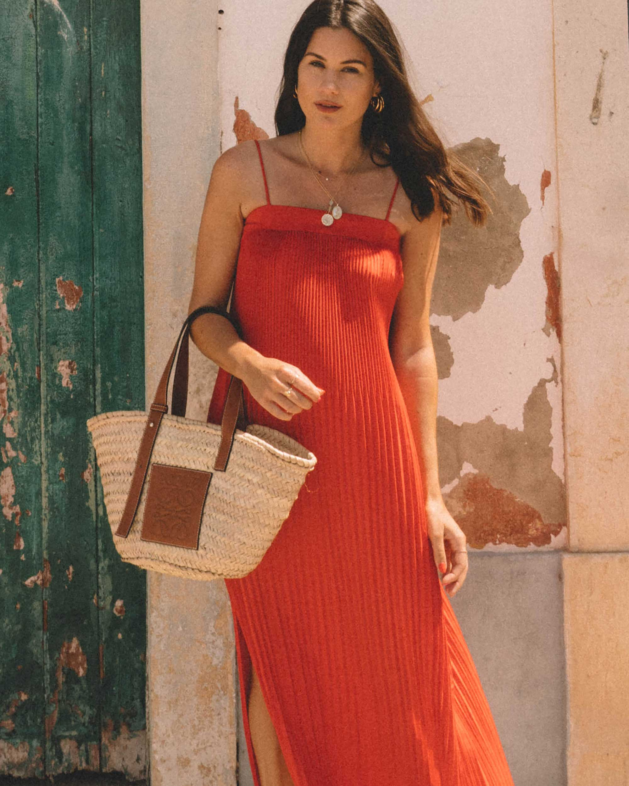 Sarah Butler of Sarah Styles Seattle wears And Other Stories red pleated midi dress with a square cut, spaghetti straps and plisse detailing in Lisbon, Portugal | @sarahchristine -3.jpg