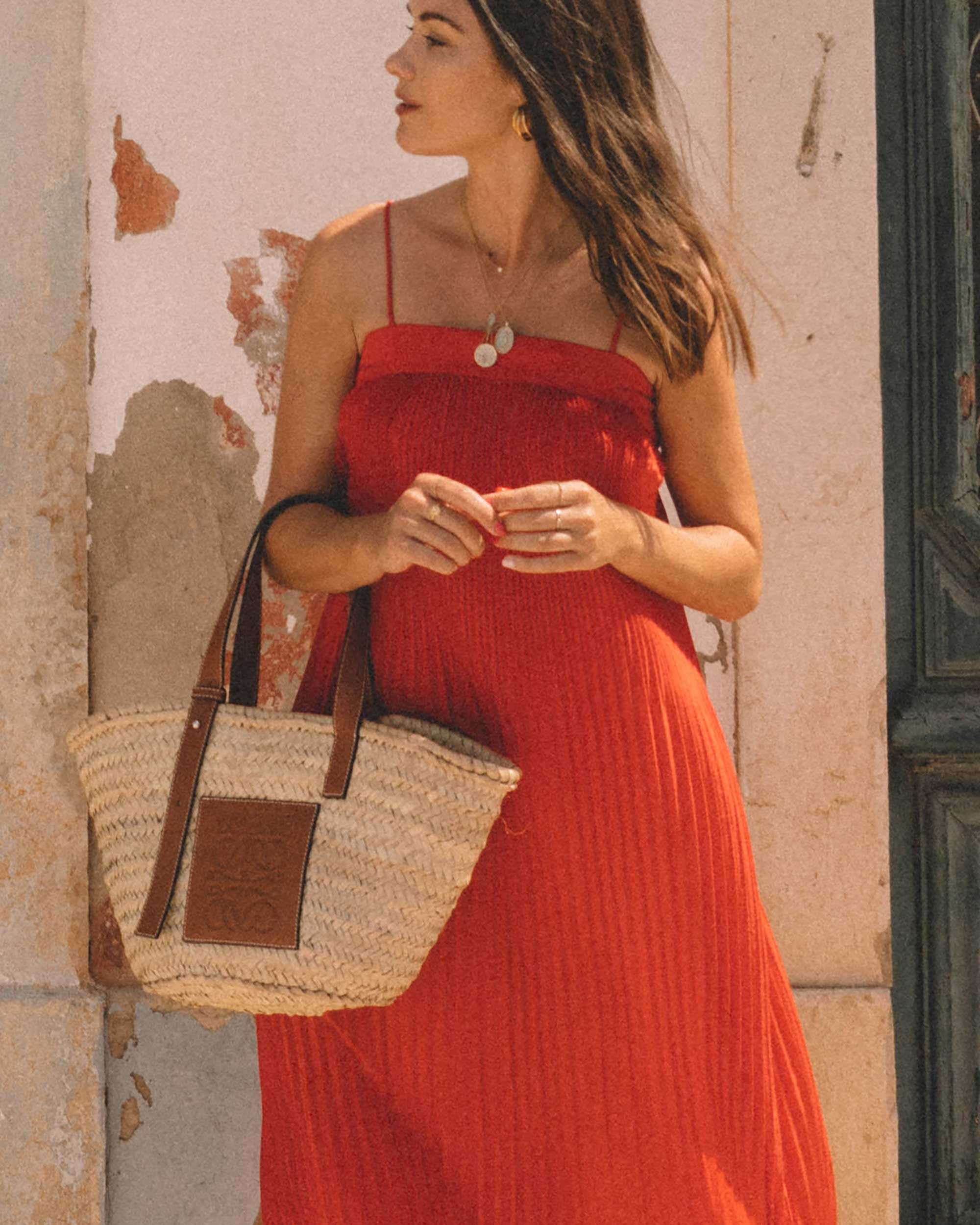 Sarah Butler of Sarah Styles Seattle wears And Other Stories red pleated midi dress with a square cut, spaghetti straps and plisse detailing in Lisbon, Portugal | @sarahchristine -6.jpg