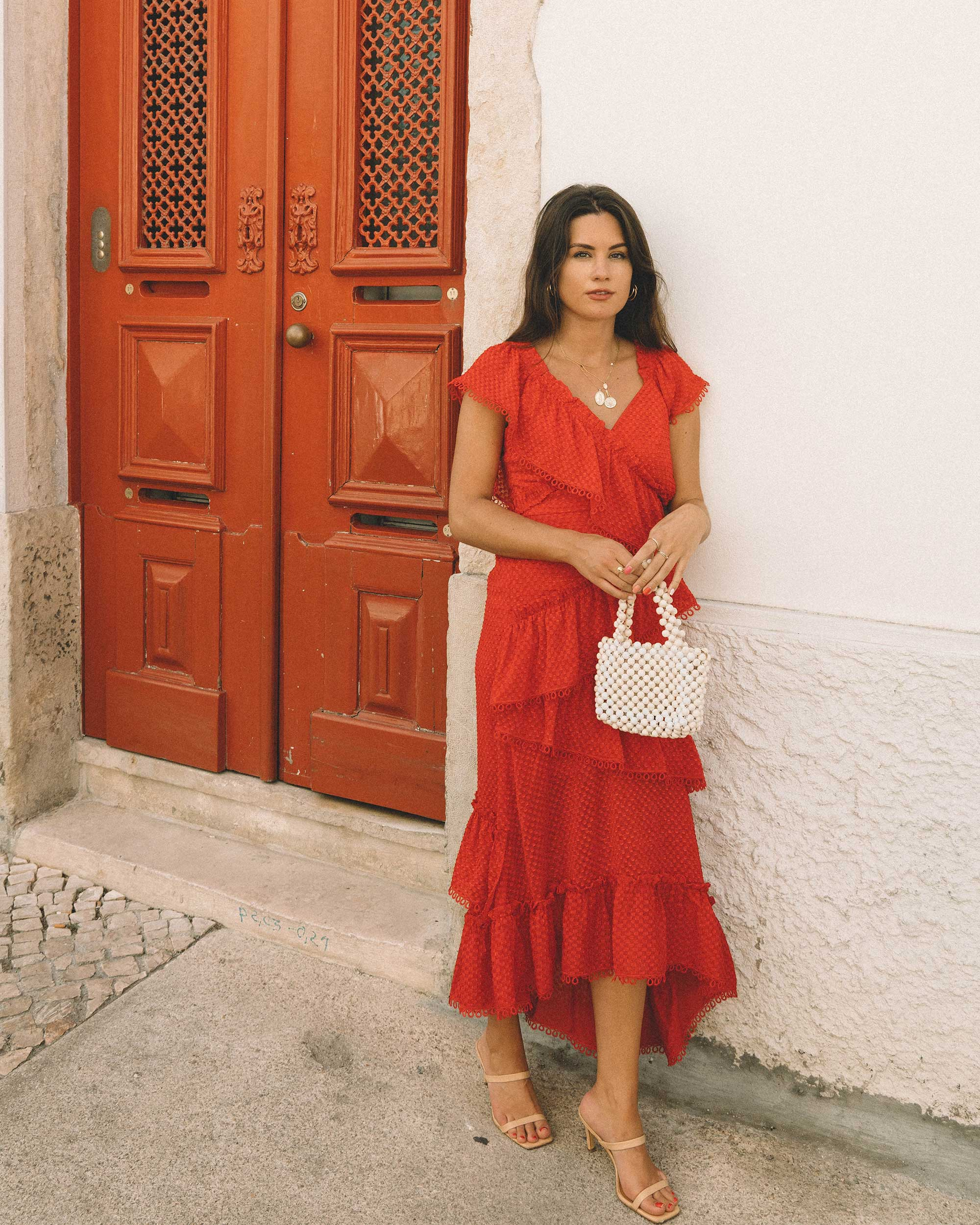 Sarah Butler of Sarah Styles Seattle wears THREE FLOOR Rouge tiered midi dress in Lisbon, Portugal | @sarahchristine 1.jpg