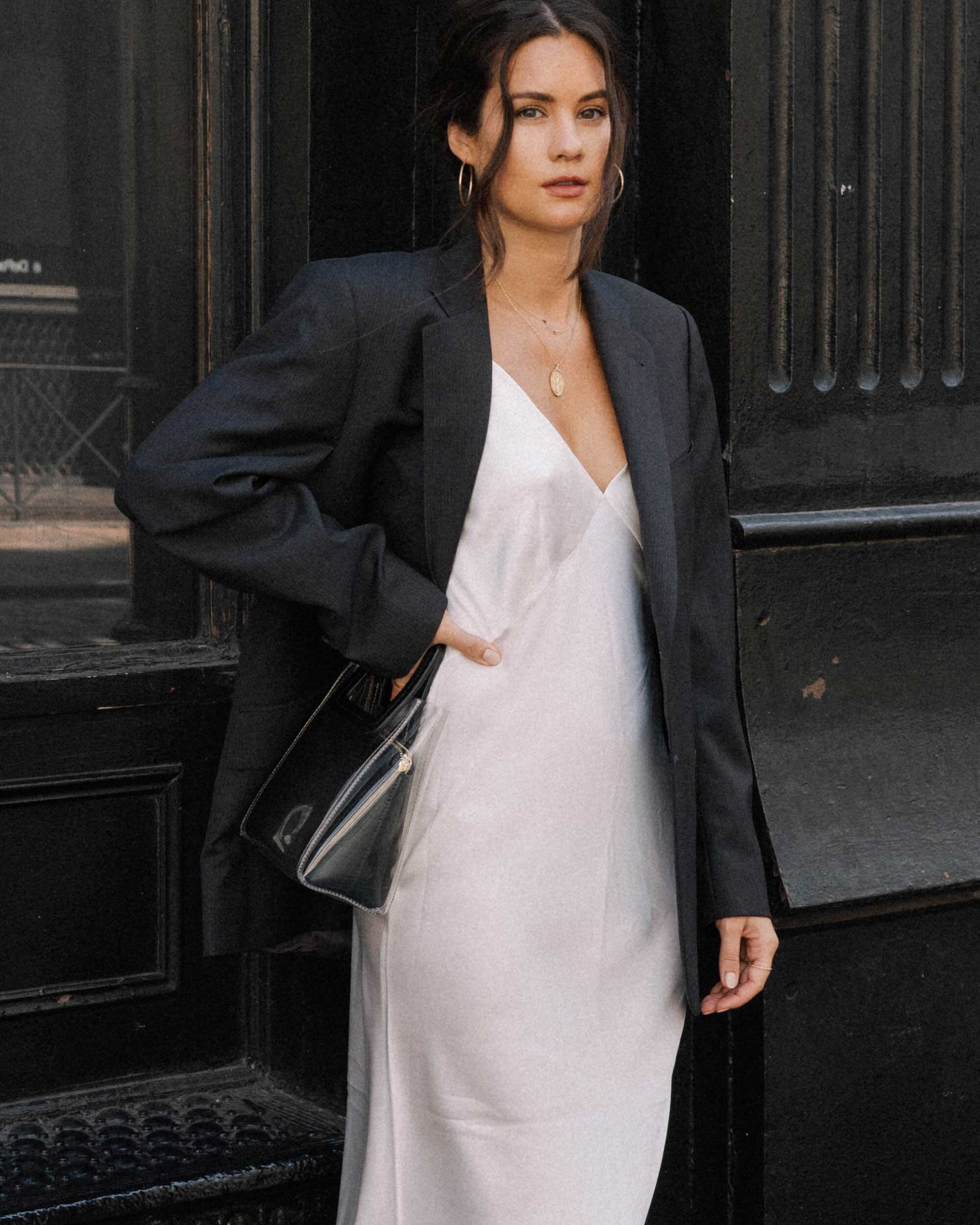 Early Fall Uniform - Layering Olivia von Halle Issa ivory slip dress with a men's wear inspired black blazer for the perfect early fall outfit.