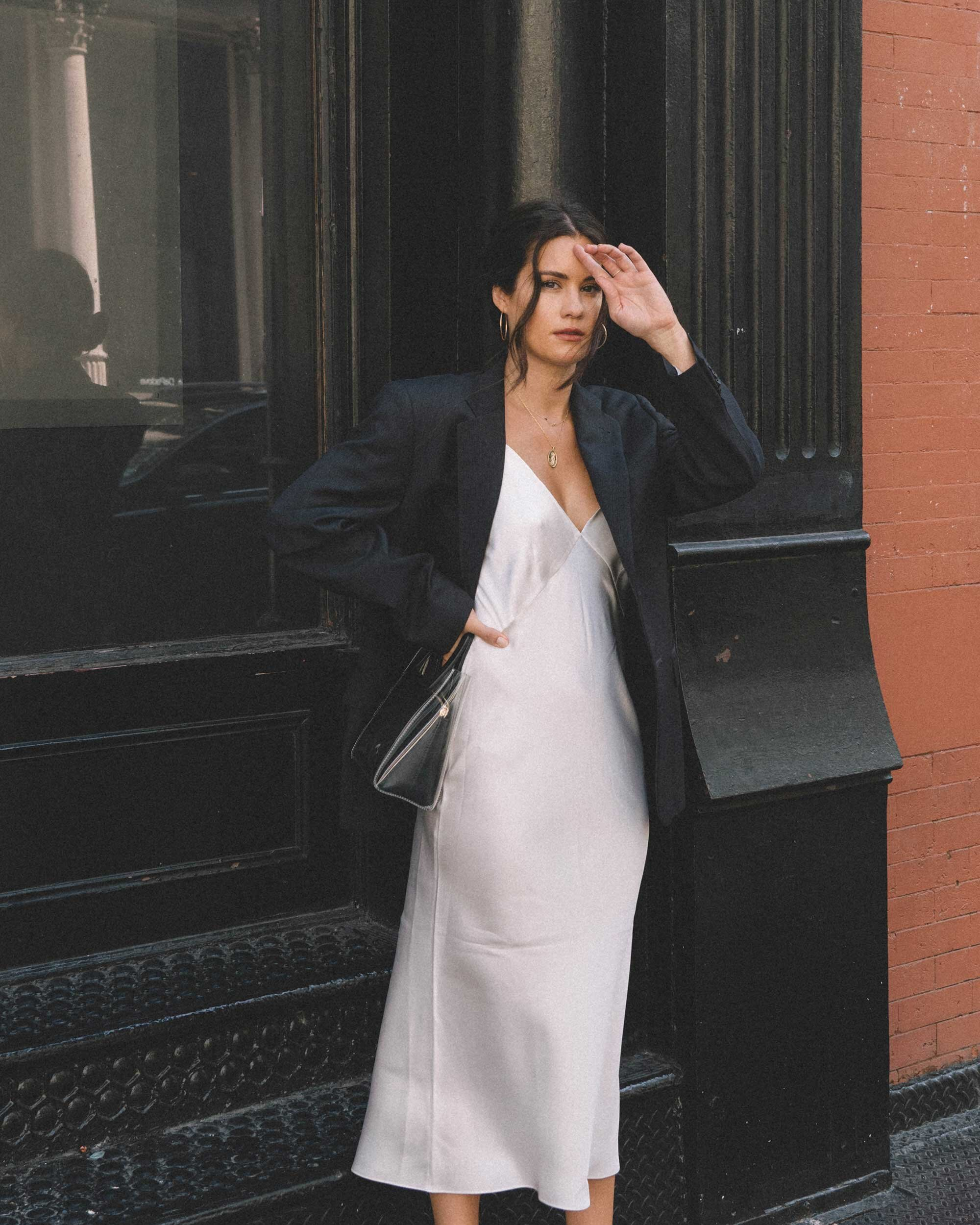 Sarah Butler of Sarah Styles Seattle wears Olivia von Halle Issa Ivory Slip dress and black blazer | @sarahchristine -4.jpg