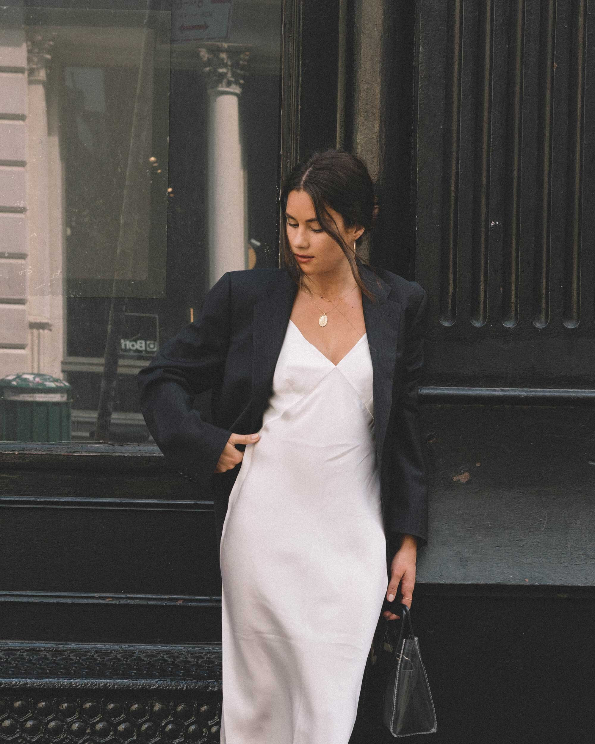 Sarah Butler of Sarah Styles Seattle wears Olivia von Halle Issa Ivory Slip dress and black blazer | @sarahchristine -6.jpg