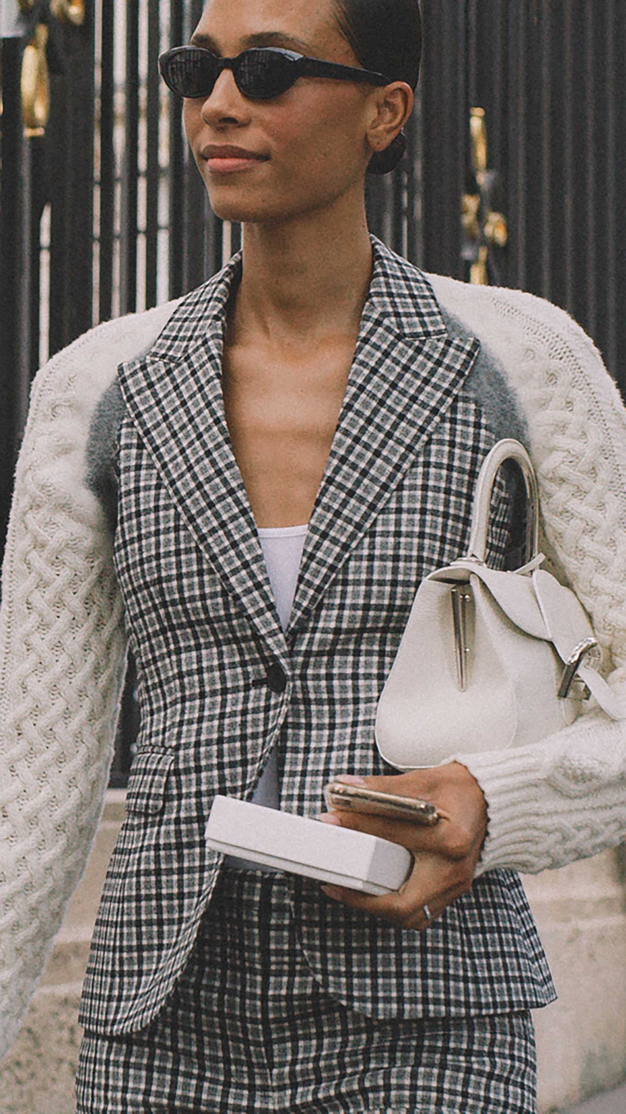 8. Altuzzara - Plaid Wool Sweater-Sleeve Blazer