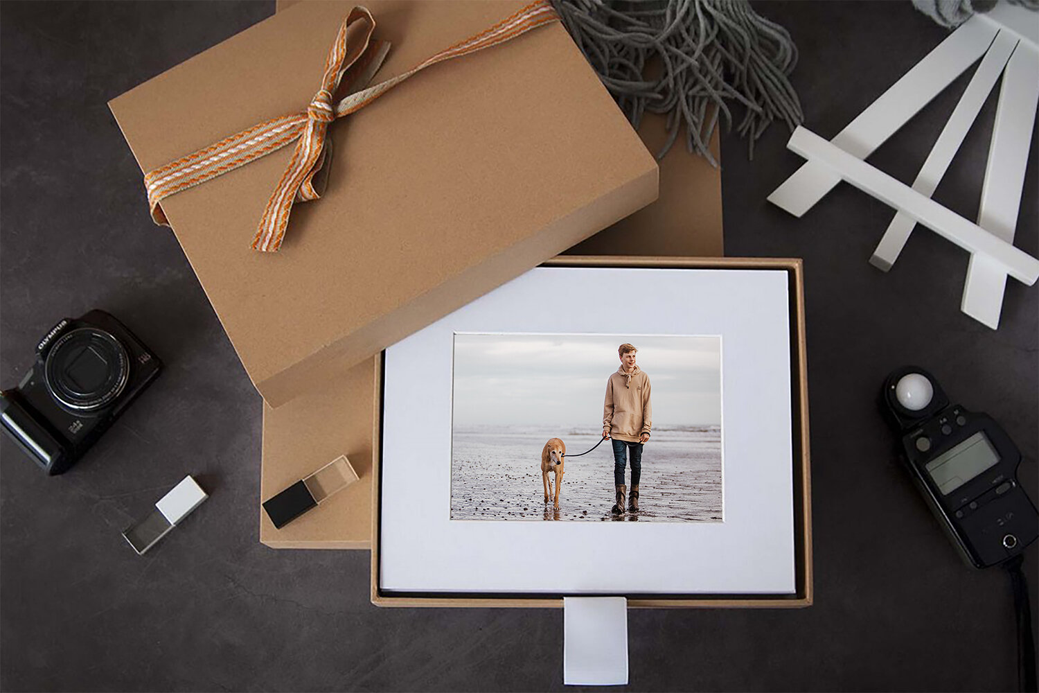 Portfolio box - Individual fine art prints size 5x7.5 mounted and matted to 8x10. Overall size is ready for an 8x10 frame. Our Portfolio Box has a white suede lining on the interior base of the box with a matching white 'lift out' ribbon.Available in our Fine Art Print + Digital Collections of 10 images.From $780