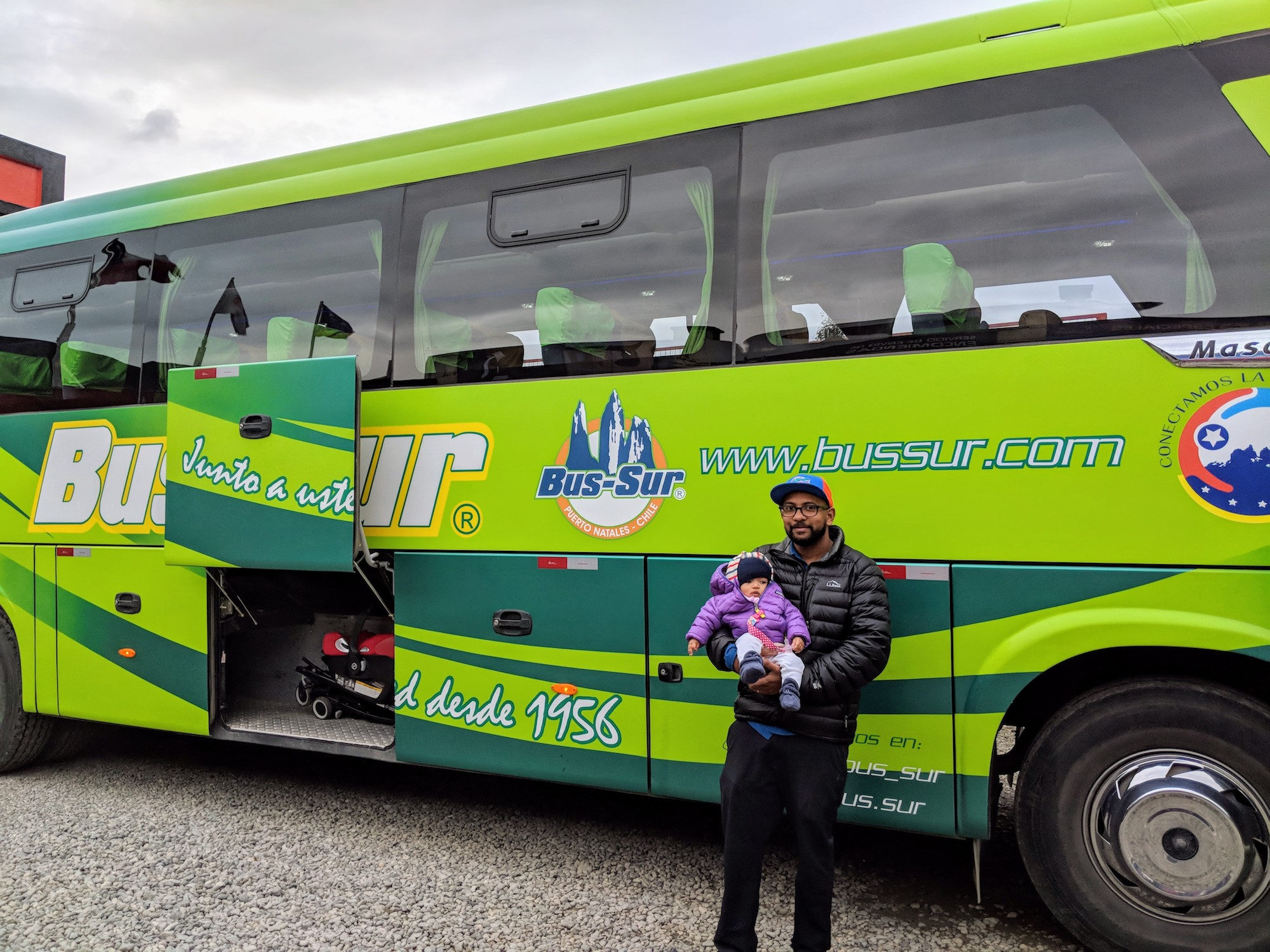 Taking a bus in Patagonia with a baby using Bus-Sur