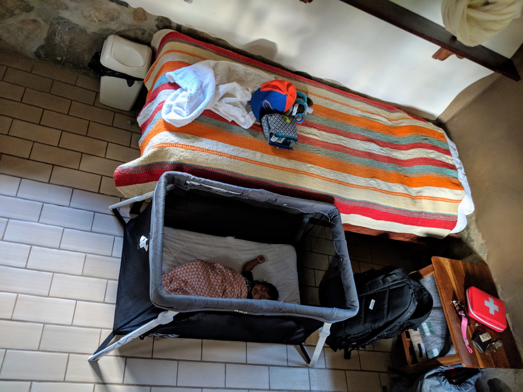 Use a travel bassinet when traveling abroad with a baby.