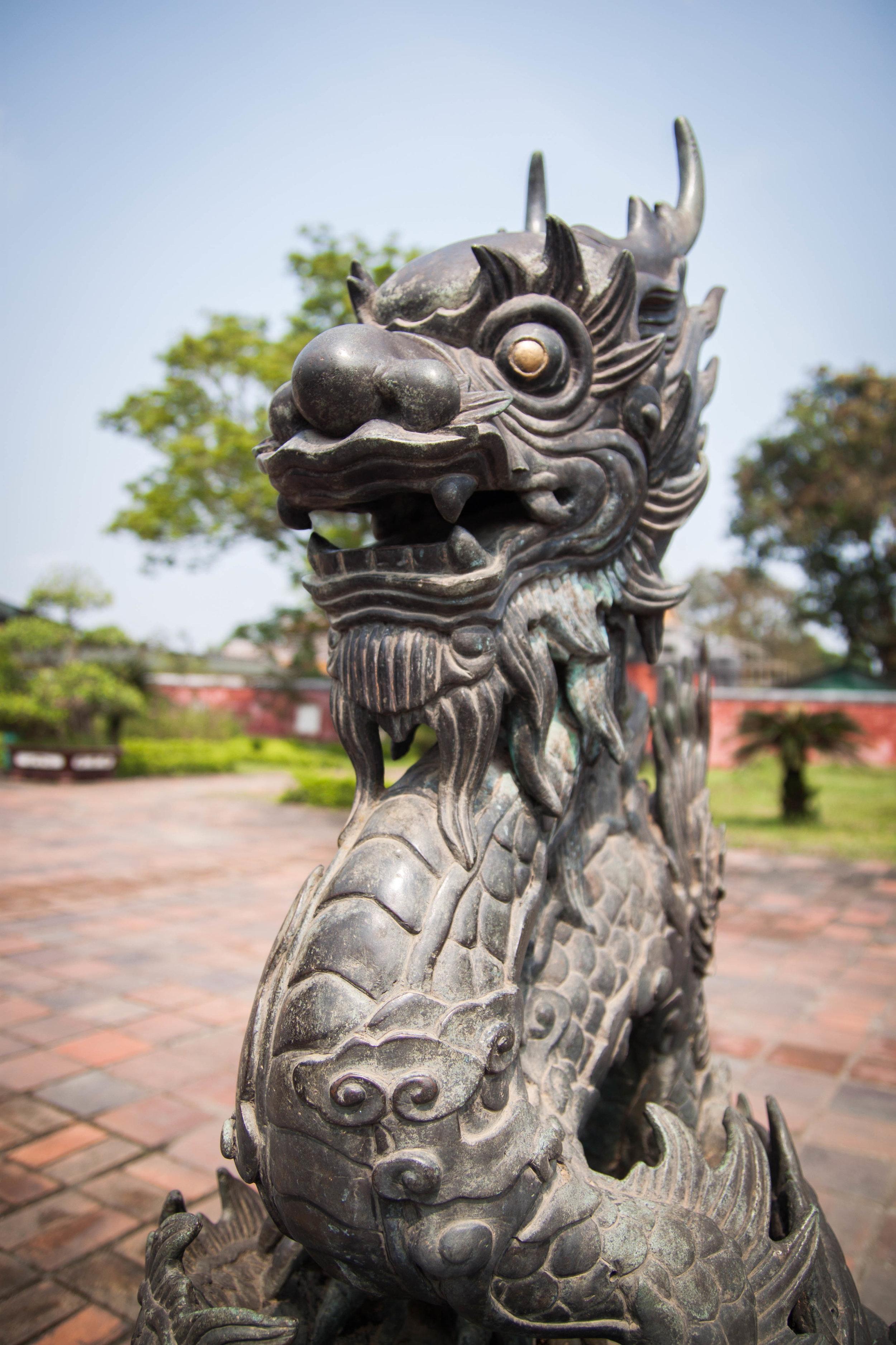 imperial palace dragon - hue, vietnam