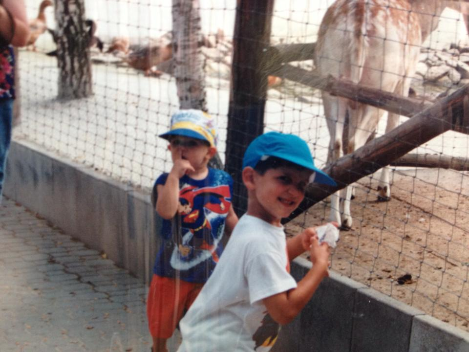 Baby Gio with a fan, circa 1993.
