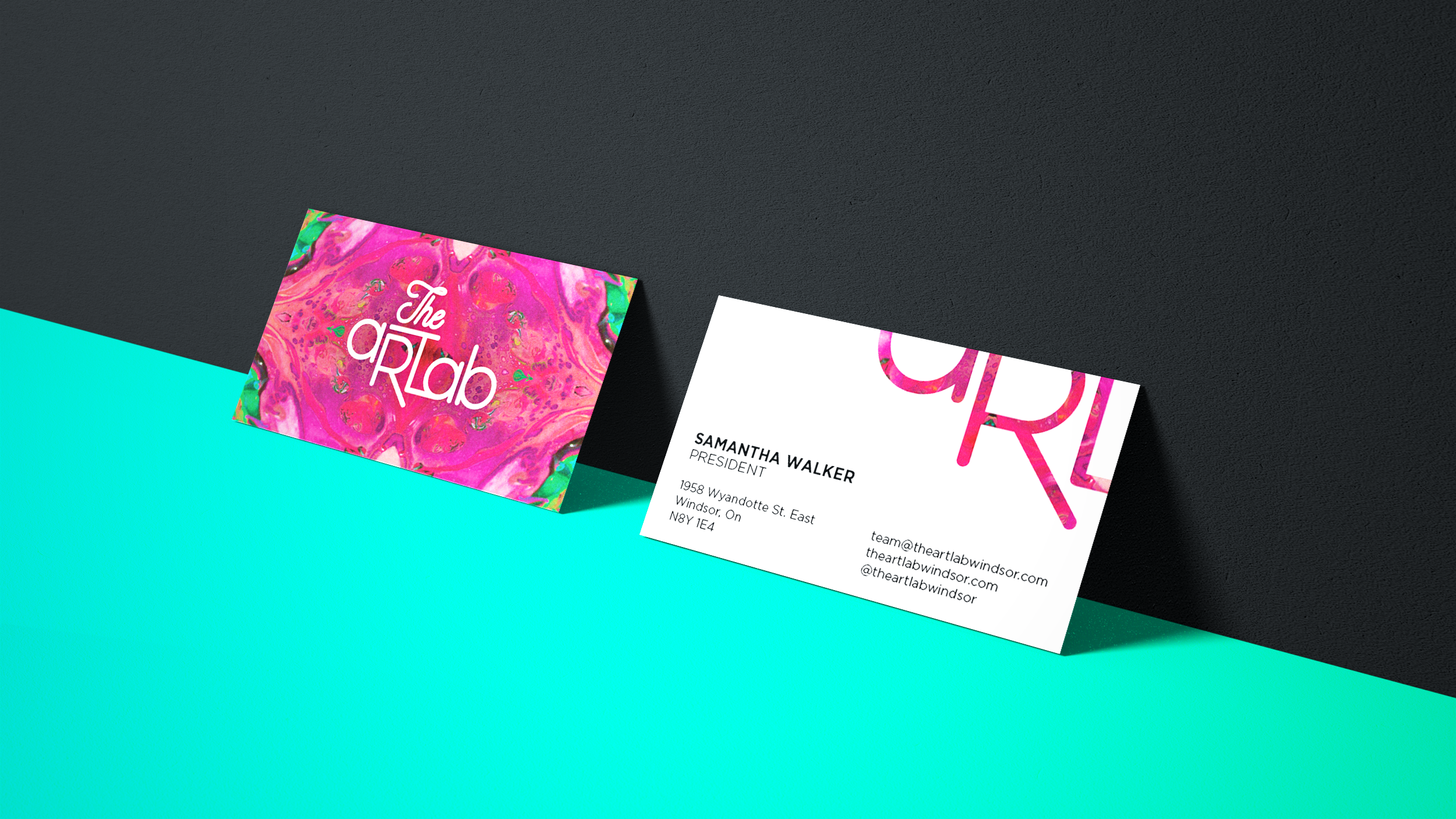 A sample of the business cards I created for The Art Lab Windsor's branding.