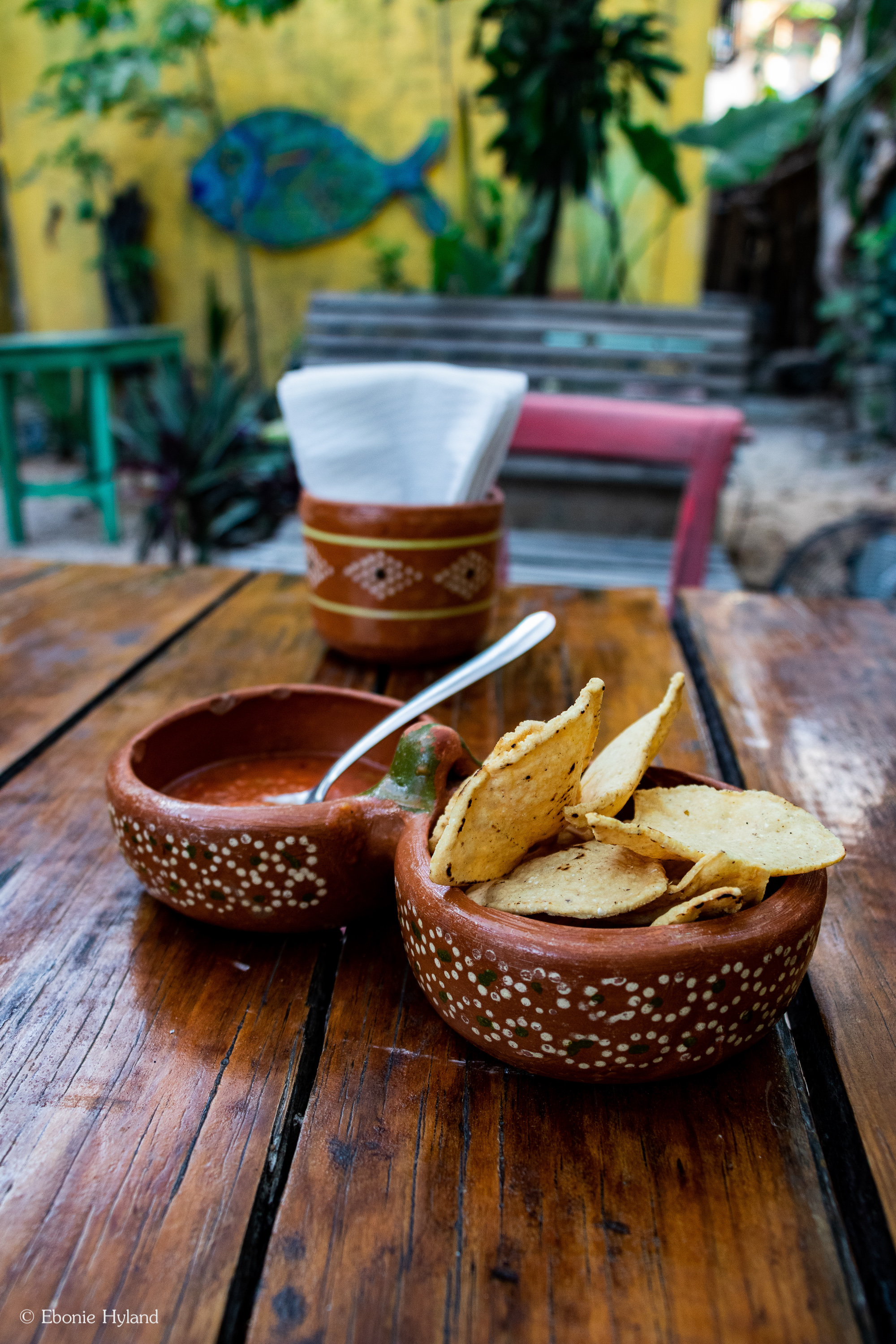 Complimentary Salsa with Tortilla Chips served at  El Vegetariano Mar y Tierra .  Tulum, Mexico 2019