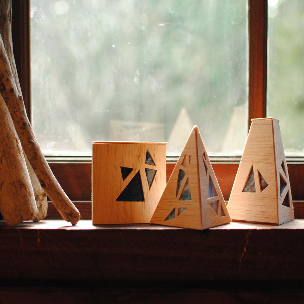 Geometric Wood Luminaries