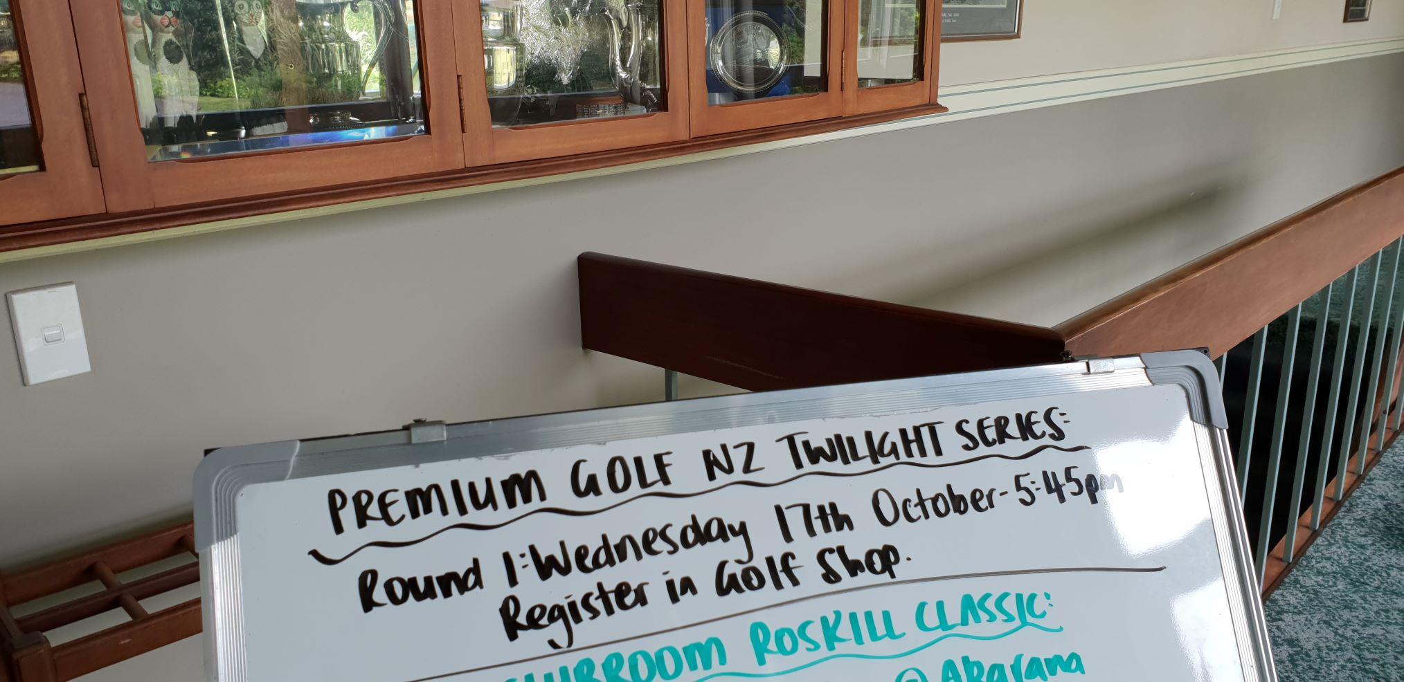 2018/2019 Premium golf nz twilight series notice in the maungakiekie Golf Club entrance hall