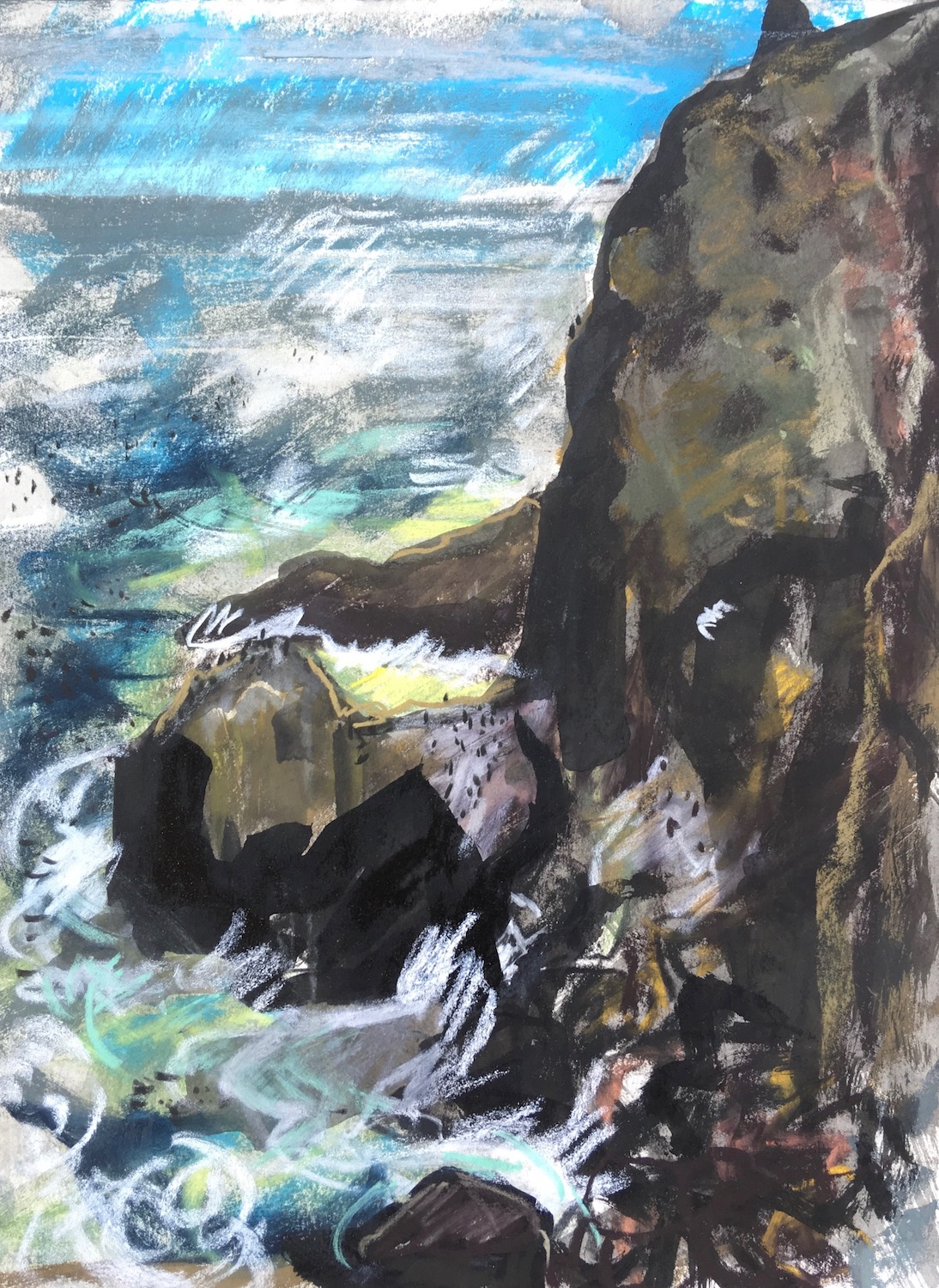 Drawings at St Abb's Head: my focus was on conveying the tough and immense environment these thousands of seabirds nest and breed in each year.