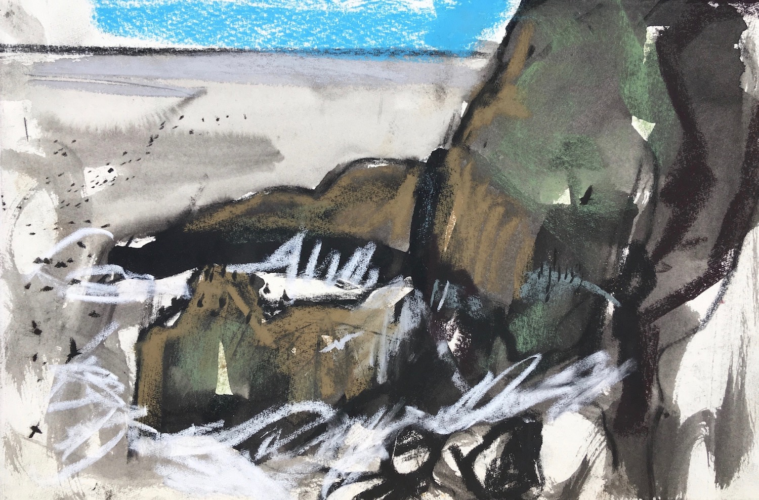 9 St Abbs Head and crashing waves with kittiwake and guillmots, ink wash and soft pastel, June 201828.5 x 18.5cm .jpg