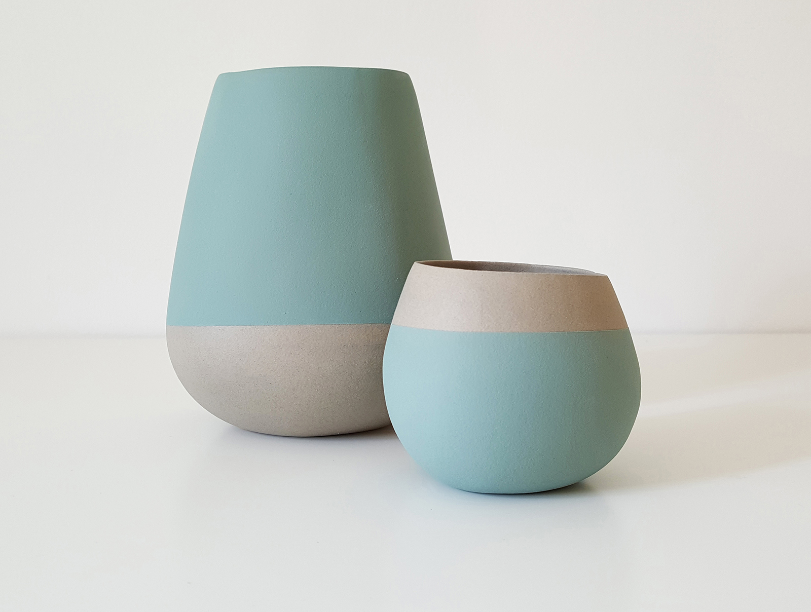 Open vessel forms - teal and grey - tallest approx 15cm