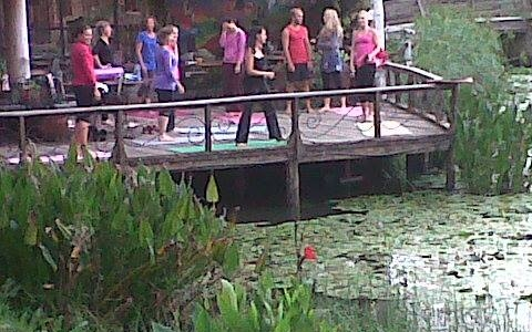 My first ever yoga class in Kenya (in the pink with my head in my hand haha)