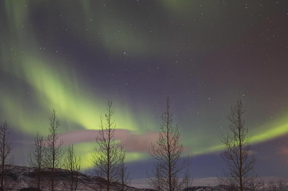 The Northern Lights from our balcony. Photo credit to retreater Joanna Rigby-Jones