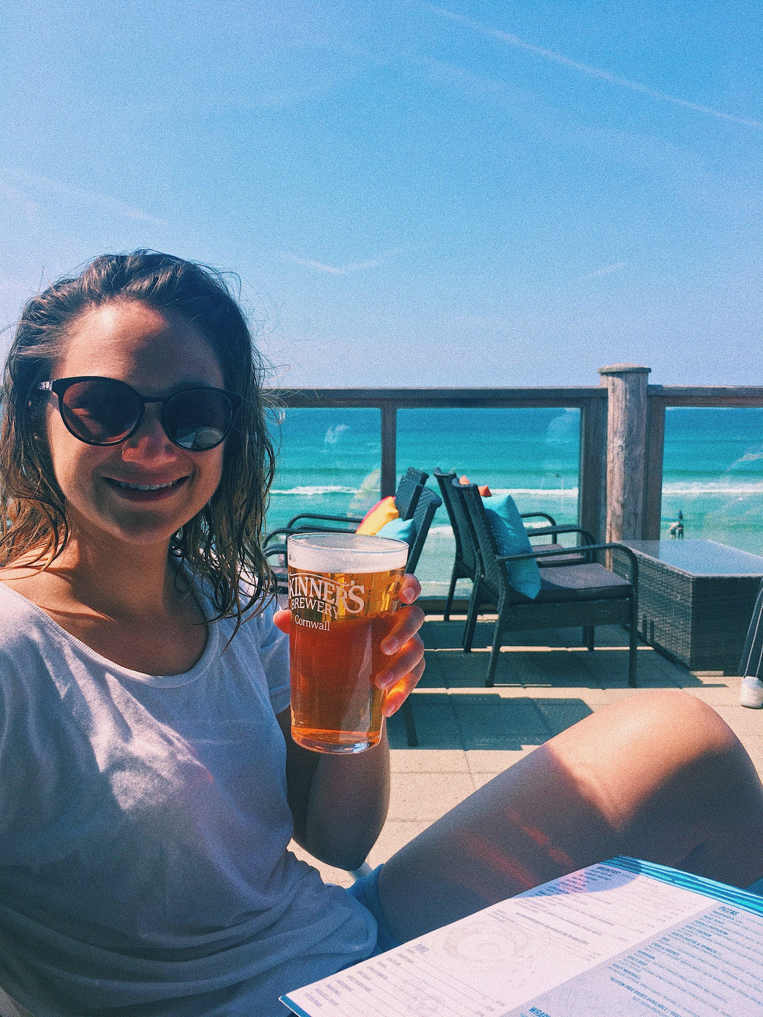 A well deserved pint at Sennen Surf Beach Bar