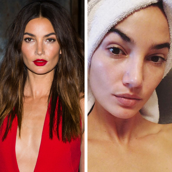 Lily Aldridge with and without makeup