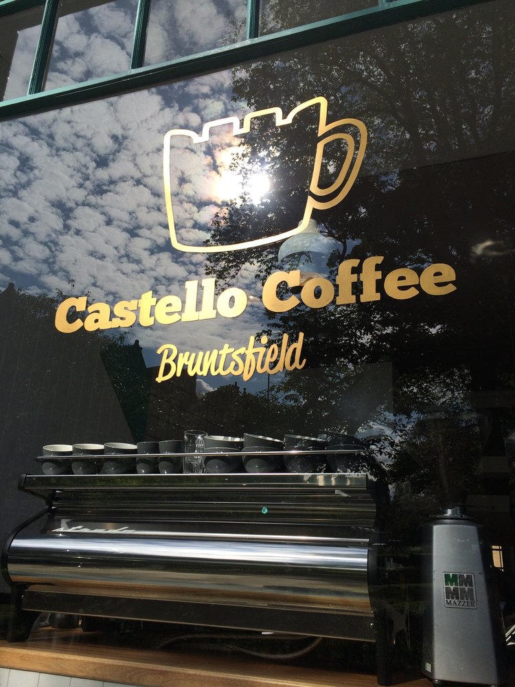 Castello Coffee - Charley's window signage for Castello Coffee in Bruntsfield