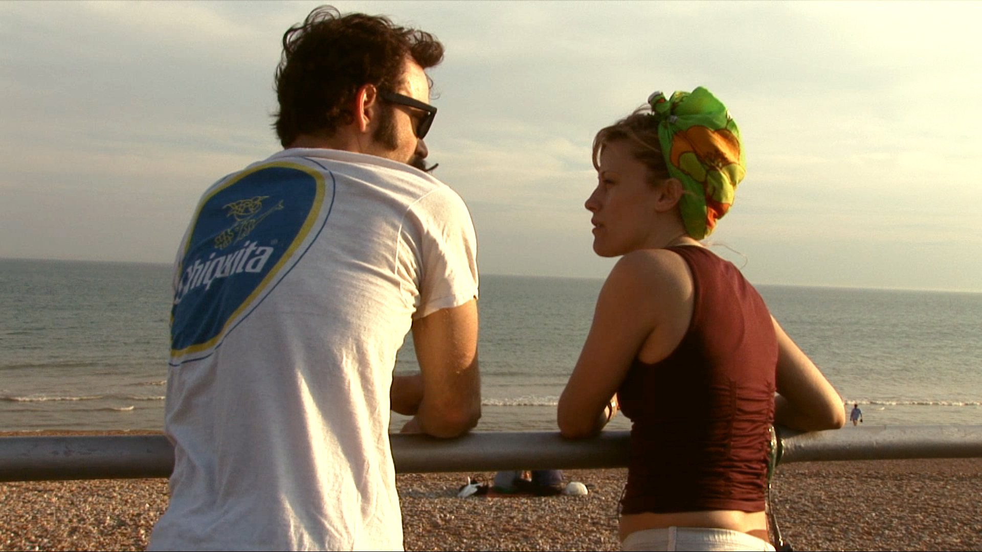 Trixie & Monkey at Brighton Beach, England discussing their first international show, 2008, Film Still by Lotfy Nathan