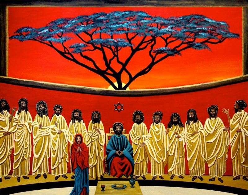Artist:  Ejay Khan   Title: Rastafarian Last Supper (2009)   Source: http://www.khanstudiointernational.com