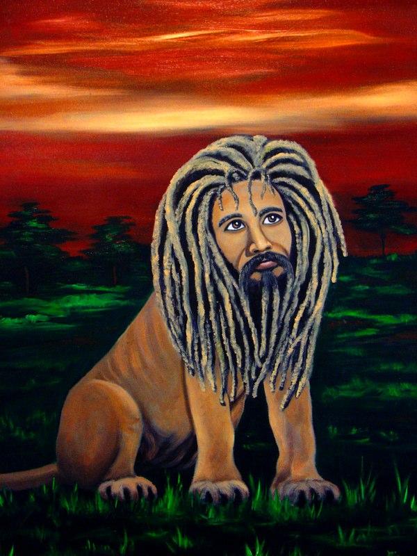 Artist:  Ejay Khan   Title: Rasta Lion (2005)   Source: http://www.khanstudiointernational.com