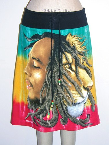 Bob Marley Rasta Lion Surf Skirt   Photo: http://www.ebay.com/itm/BOB-MARLEY-Reggae-Rasta-Lion-Dreads-Jamaica-TieDye-Beach-TShirt-Surf-Sweat-Skirt-/350857548894  Accessed Spring 2013