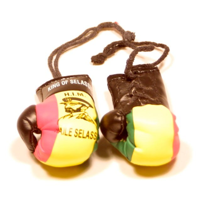 Selassie Boxing Gloves   Photo: http://www.ebay.co.uk/itm/Selassie-Rastafari-Flag-Mini-Boxing-Gloves-/150877925775  Accessed Spring 2013