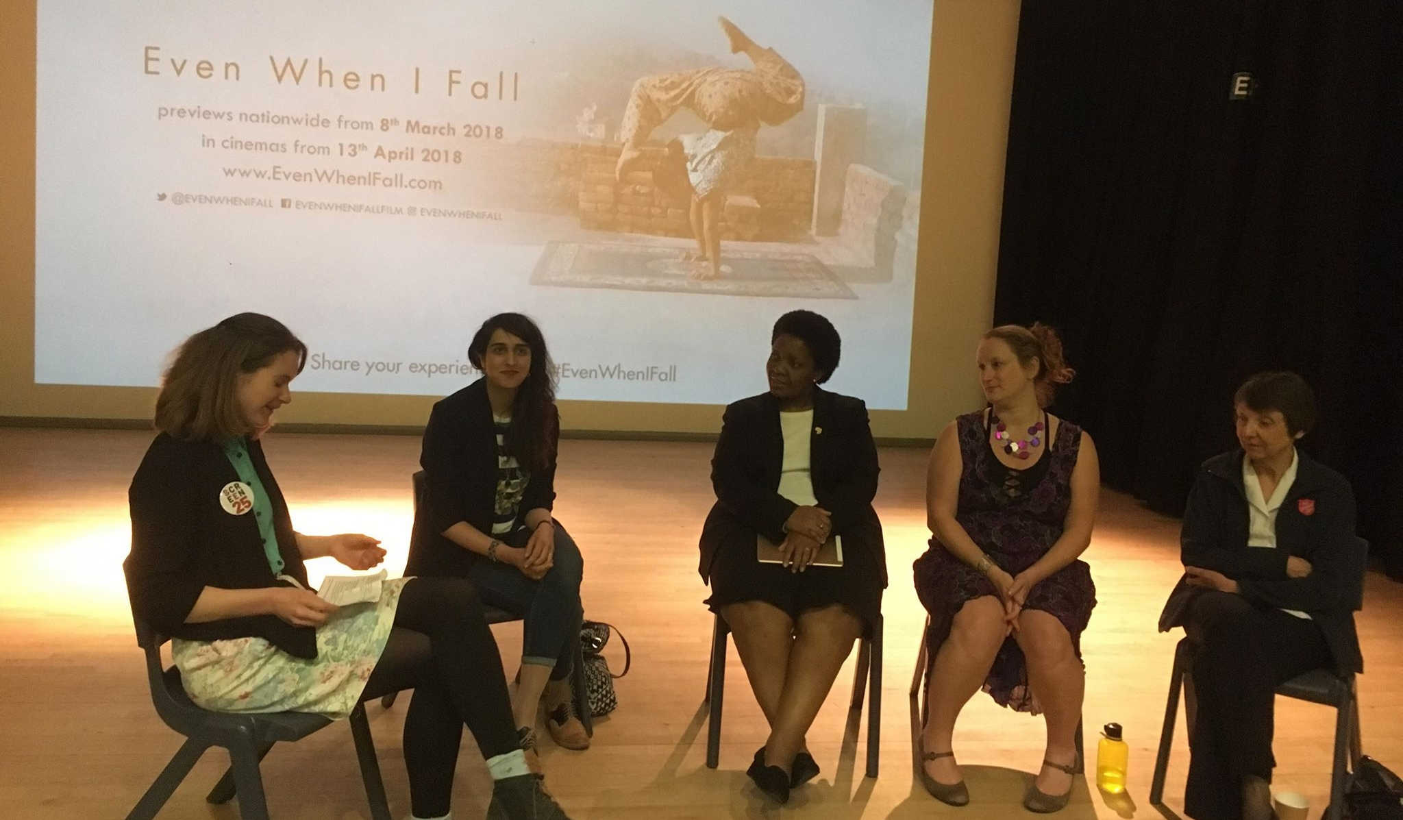 From left: Katie Brandwood (Screen25), Saima Raza (CCAT), Debbie Ariyo (AFRUCA), Anna Strickland (Circus Kathmandu Foundation),Lieut.-Colonel Diane Payne (The Salvation Army)