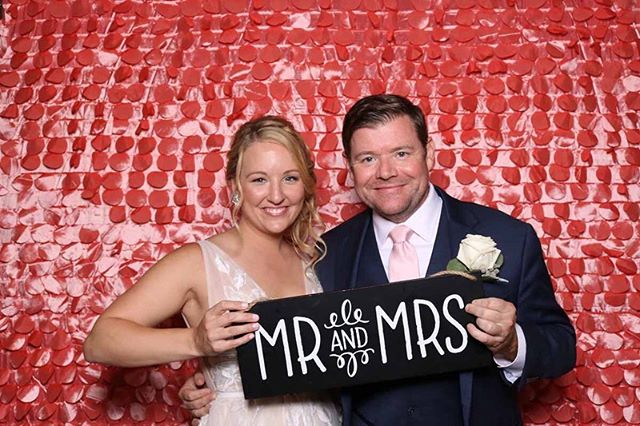 Our blush petal backdrop is great for a pop of color for any event! Chris and Sarah chose our DSLR print booth option for their wedding and guest could print out 3 photo 2x6 strips to take with them. Check out some of the highlights from their awesome reception!