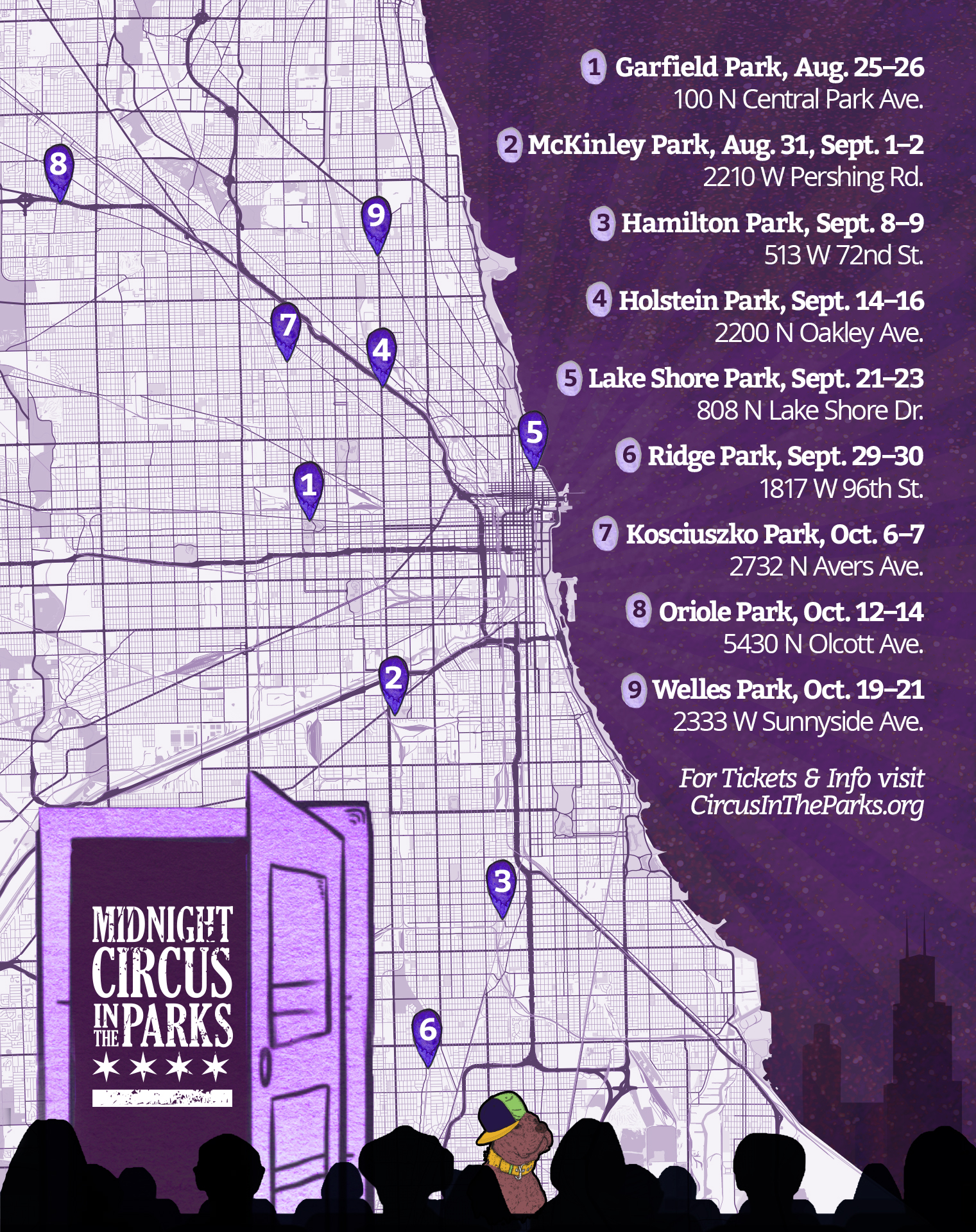 Midnight Circus in the Parks, 2018 Tour, Map