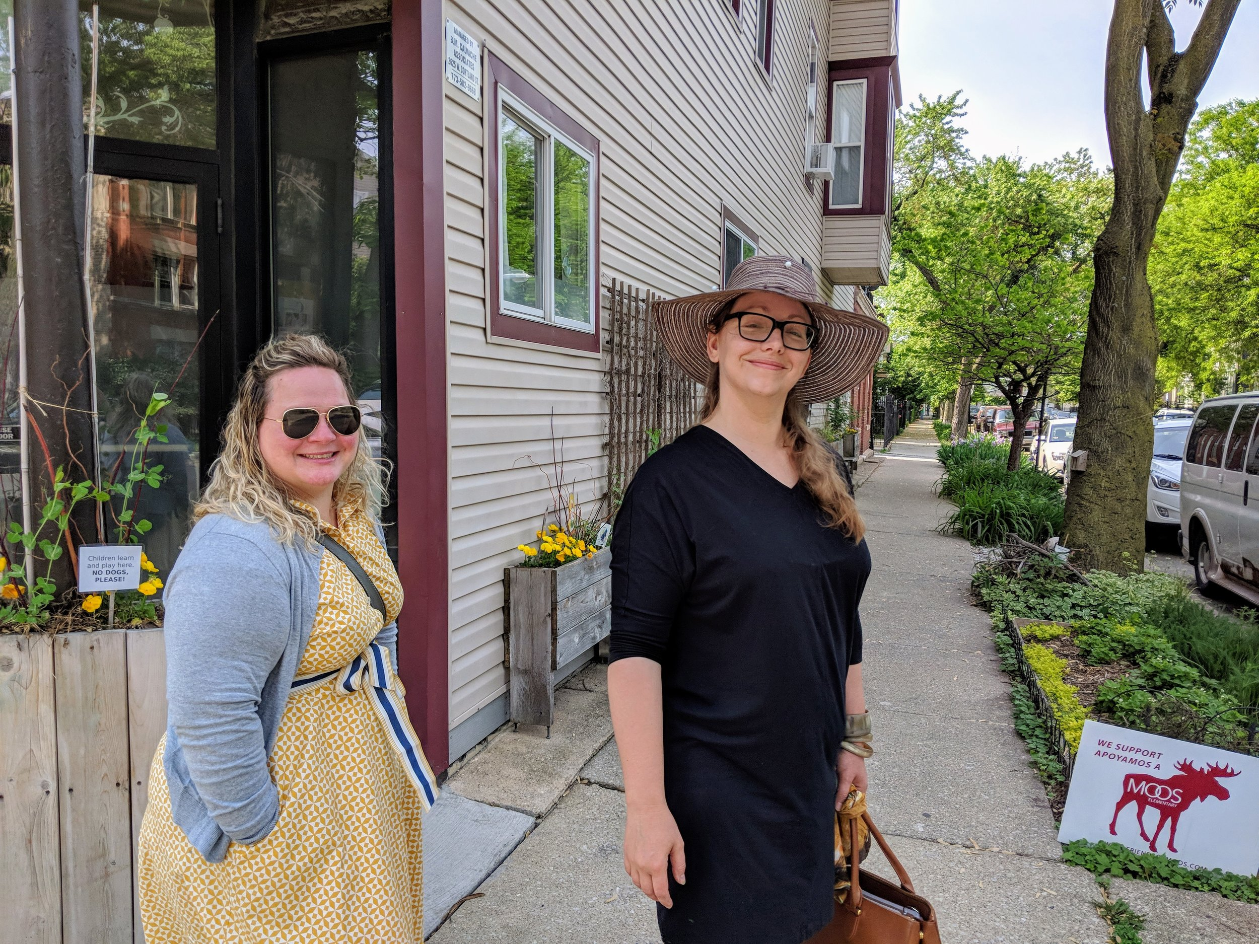 Maria Stone and Amy Ewaldt in front of Cortland Preschool