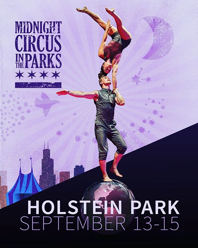 Next stop #HolsteinPark @chicagoparks See you under the Big Top! Ticket link in bio. #midnightcircus #circusintheparks #circus #community