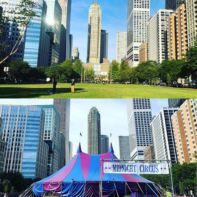 Downtown! Lake Shore Park Midnight Circus is ready! See you tomorrow 7pm & all weekend. Get those tickets while you still can. Link in Bio. @chicagoparks #chicago #community #midnightcircus