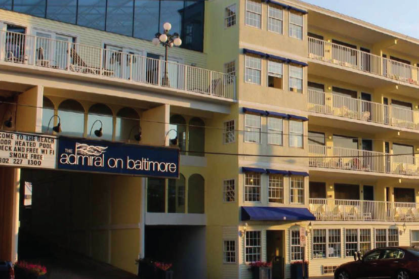 Admiral Hotel Rehoboth   located 64 feet from the Boardwalk and  15 miles  302-227-1300